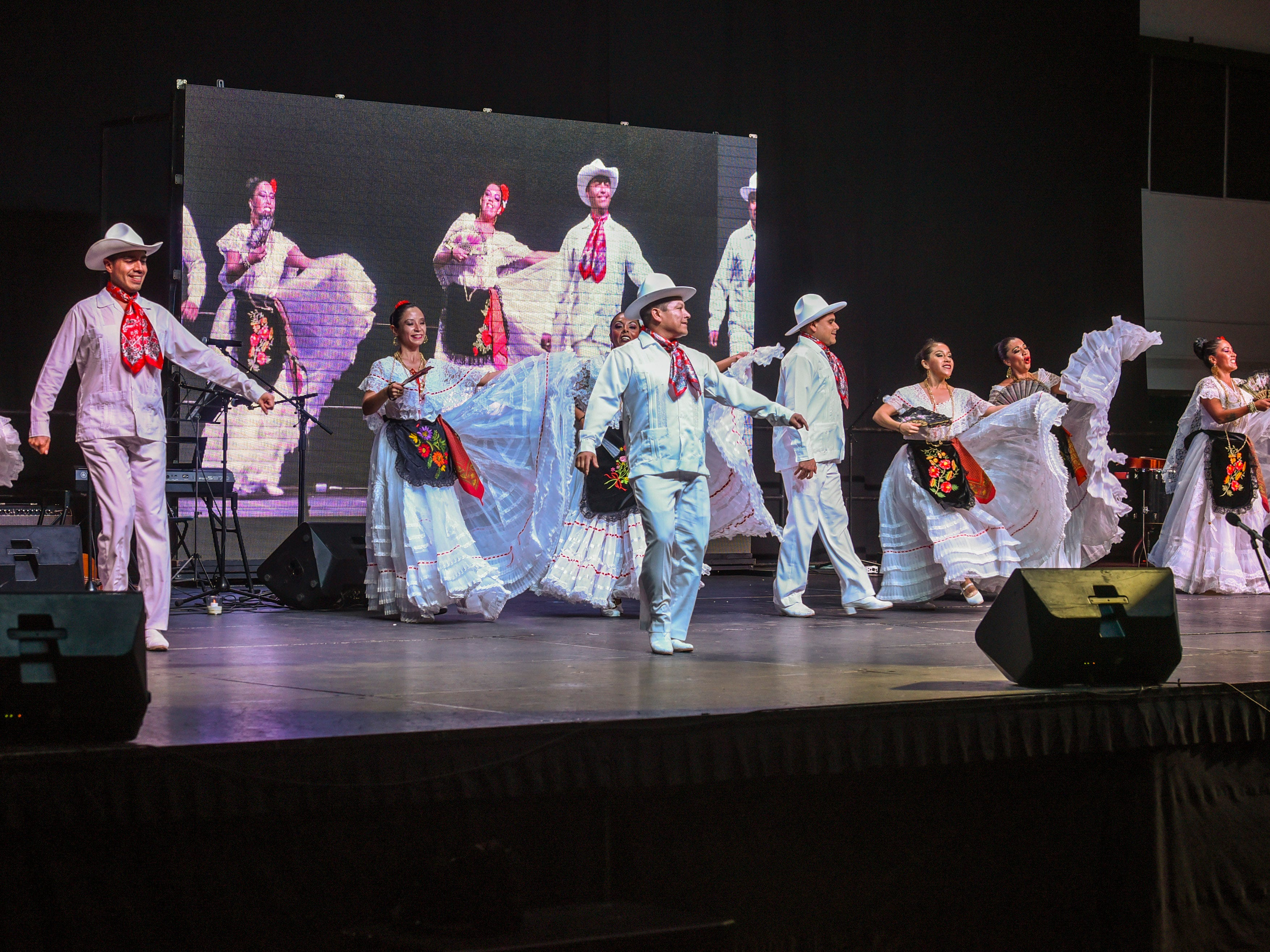 Members of Mexico's Estampas Mexico perform during a matinee show of the 3rd International Dance Festival at the University of Guam Calvo Field House in Mangilao on Wednesday, Dec. 5, 2018. The festival, presented by Inetnon Gefpa'go Cultural Arts Program Inc., is also slated to feature dancers representing the countries of Argentina, Costa Rica, Finland, Philippines and Guam. Shows are scheduled to be held at UOG on Thursday morning and Saturday evening. Additional public shows are scheduled at Dec. 6, 6:30 p.m., Thursday at the Micronesia Mall and another at Dec. 7, 7:30 p.m., Saturday at the Guam Museum.