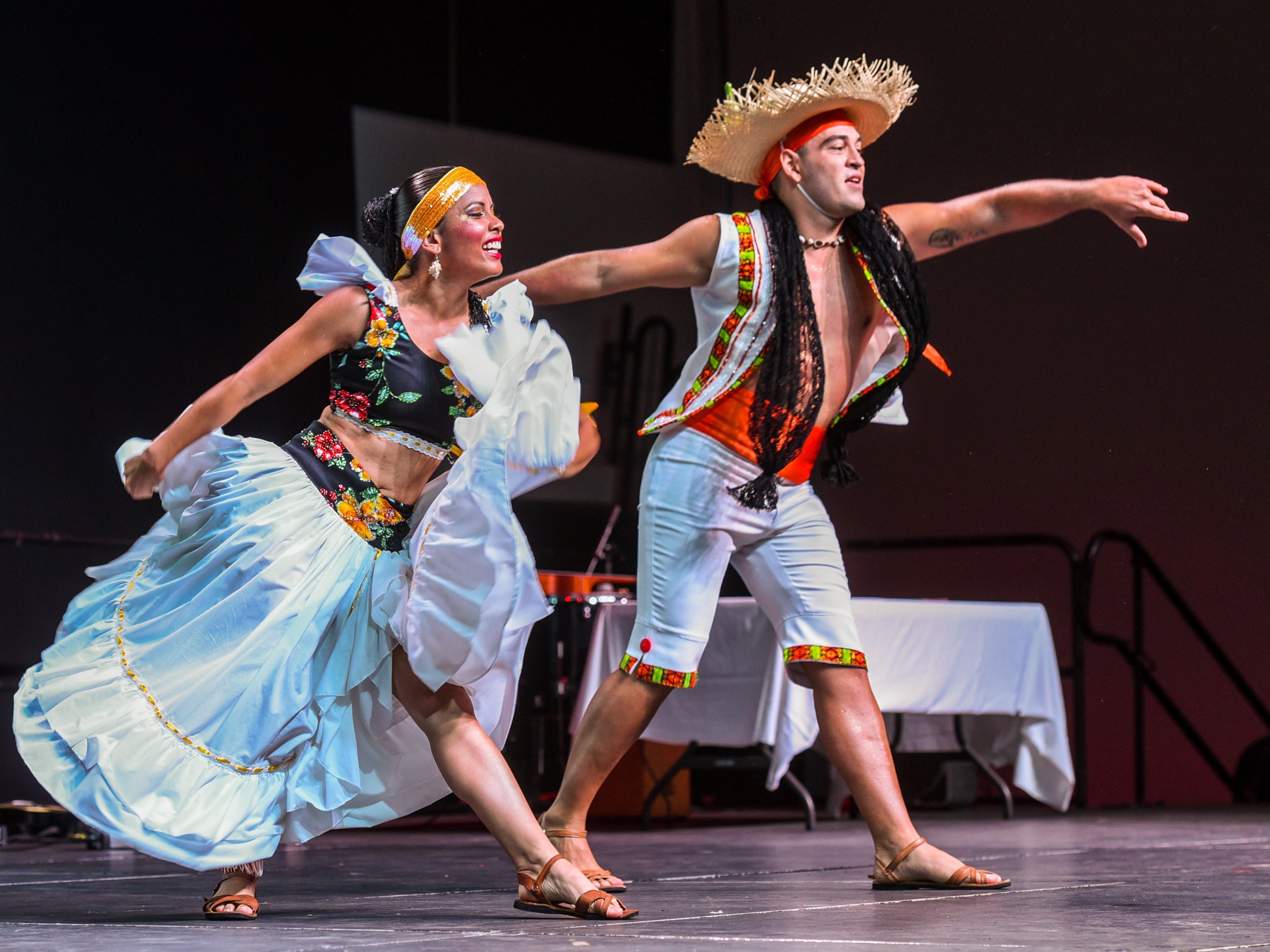 Members of Costa Rica's Inspiraciones Costarricenses perform during a matinee show of the 3rd International Dance Festival at the University of Guam Calvo Field House in Mangilao on Wednesday, Dec. 5, 2018. The festival, presented by Inetnon Gefpa'go Cultural Arts Program Inc., is also slated to feature dancers representing the countries of Argentina, Mexico, Philippines, Finland and Guam. Shows are scheduled to be held at UOG on Thursday morning and Saturday evening. Additional public shows are scheduled at Dec. 6, 6:30 p.m., Thursday at the Micronesia Mall and another at Dec. 7, 7:30 p.m., Saturday at the Guam Museum.