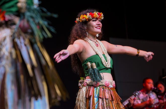 Members of Inetnon Gefpa'go Cultural Arts Program Inc. perform at the 3rd International Dance Festival at the University of Guam Calvo Field House in this Dec. 5, 2018, file photo. Vince Reyes, director of the Inetnon Gef'på'go Cultural Arts program, said he noticed a resurgence of younger people embracing their native identity while navigating through modern pop culture.
