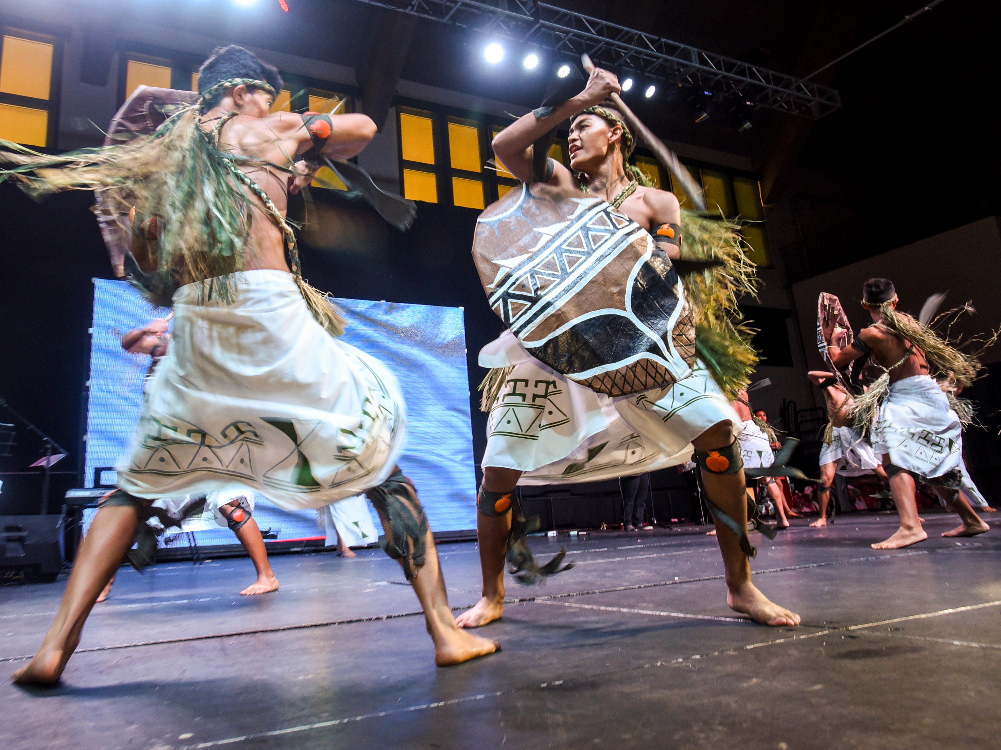 Members of Inetnon Gefpa'go Cultural Arts Program Inc. perform during a matinee show of the 3rd International Dance Festival at the University of Guam Calvo Field House in Mangilao on Wednesday, Dec. 5, 2018. The festival, presented by Inetnon Gefpa'go, is slated to feature dance group performers representing the countries of Argentina, Costa Rica, Mexico, Philippines, Finland and Guam. Shows are scheduled to be held at UOG on Thursday morning and Saturday evening. Additional public shows are scheduled at Dec. 6, 6:30 p.m., Thursday at the Micronesia Mall and another at Dec. 7, 7:30 p.m., Saturday at the Guam Museum.