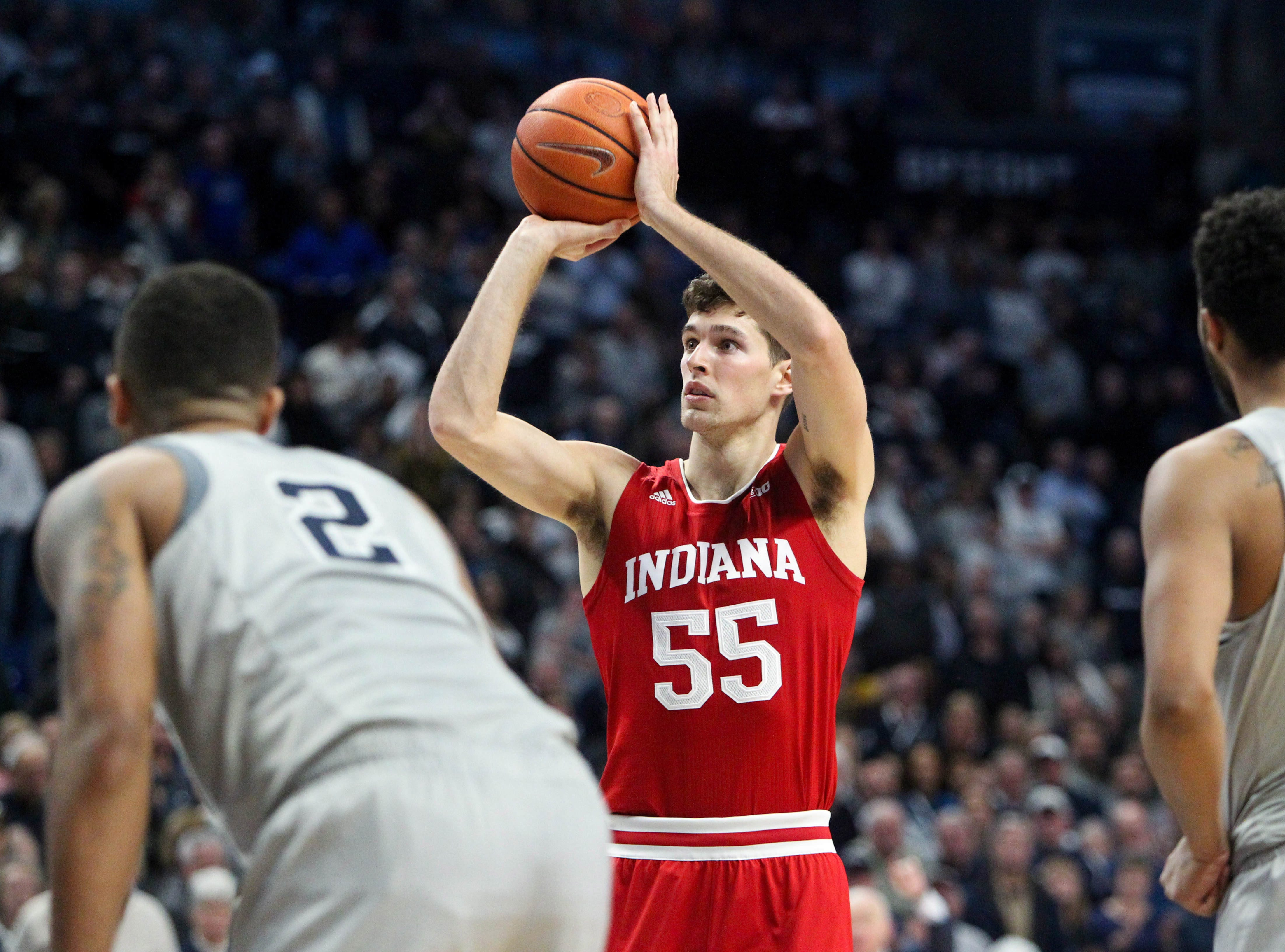 Dec 4, 2018; University Park, PA, USA; Indiana Hoosiers forward Evan Fitzner (55) shoots a free throw during the second half against the Penn State Nittany Lions at Bryce Jordan Center. Indiana defeated Penn State 64-62. Mandatory Credit: Matthew O'Haren-USA TODAY Sports