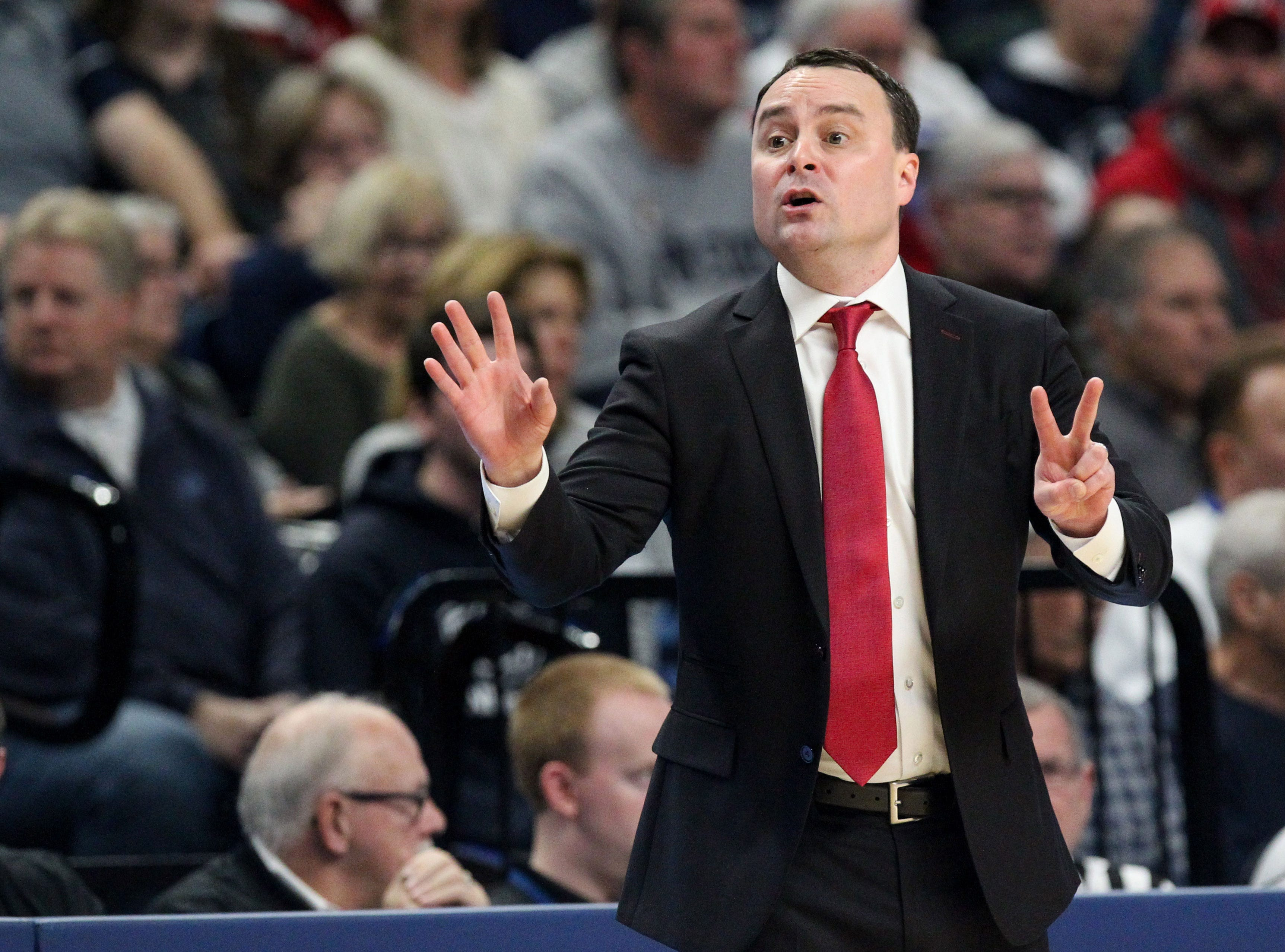 Dec 4, 2018; University Park, PA, USA; Indiana Hoosiers head coach Archie Miller reacts from the bench during the first half against the Penn State Nittany Lions at Bryce Jordan Center. Mandatory Credit: Matthew O'Haren-USA TODAY Sports