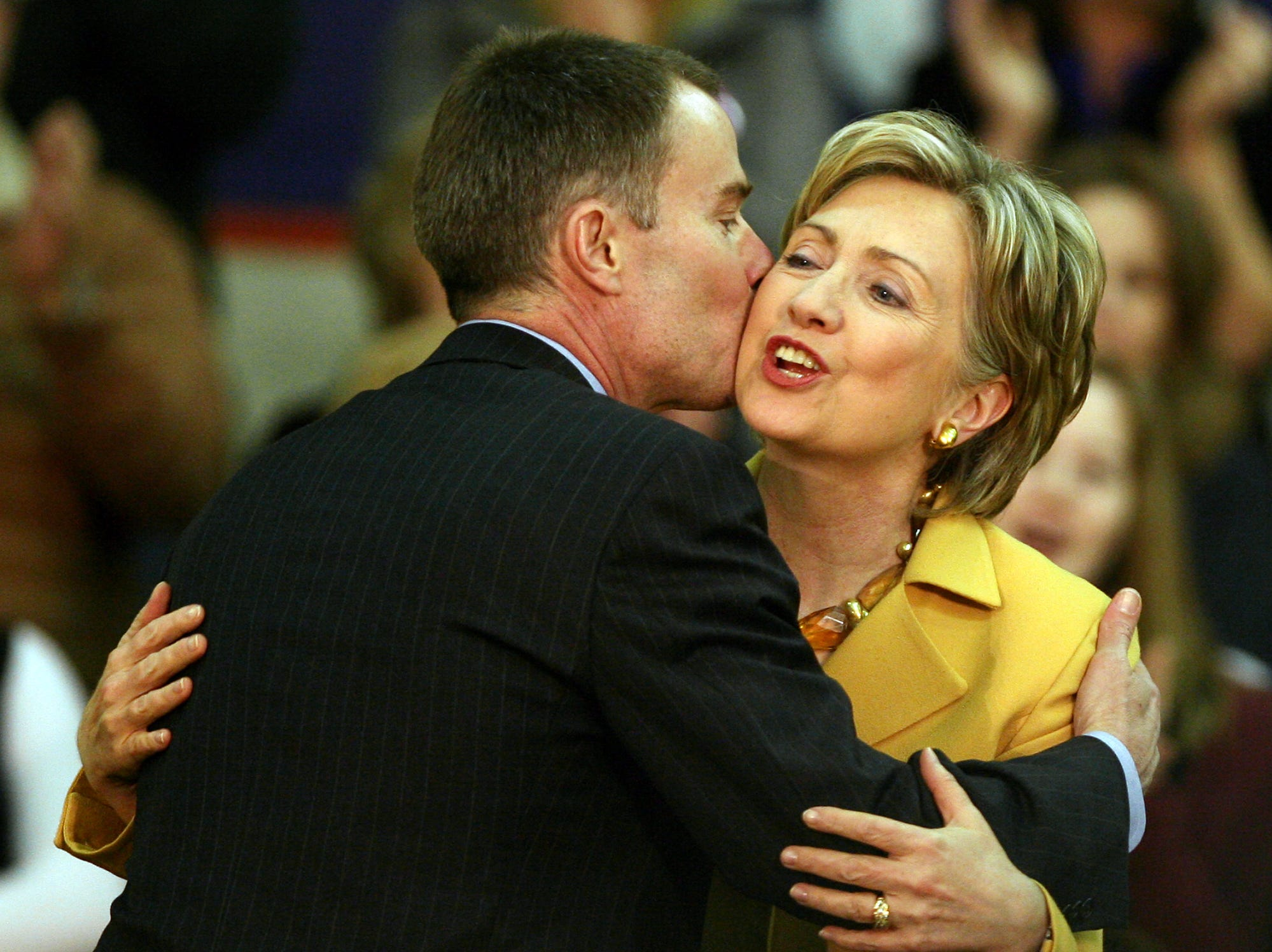 Presidential candidate Hillary Clinton gets a hug from Joe Hogsett after being introduced at Muncie Central High School in 2008.