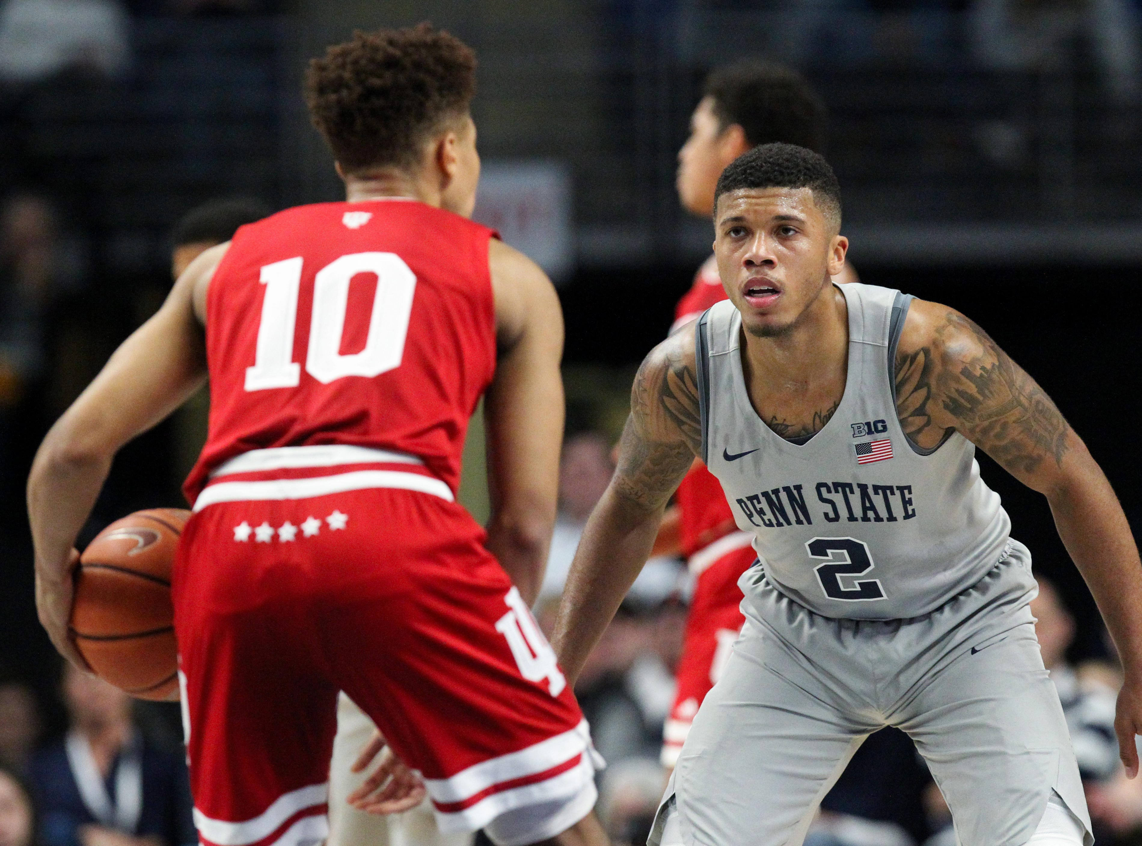 Dec 4, 2018; University Park, PA, USA; Penn State Nittany Lions guard Myles Dread (2) eyes Indiana Hoosiers guard Rob Phinisee (10) as he brings the ball up court during the first half at Bryce Jordan Center. Indiana defeated Penn State 64-62. Mandatory Credit: Matthew O'Haren-USA TODAY Sports