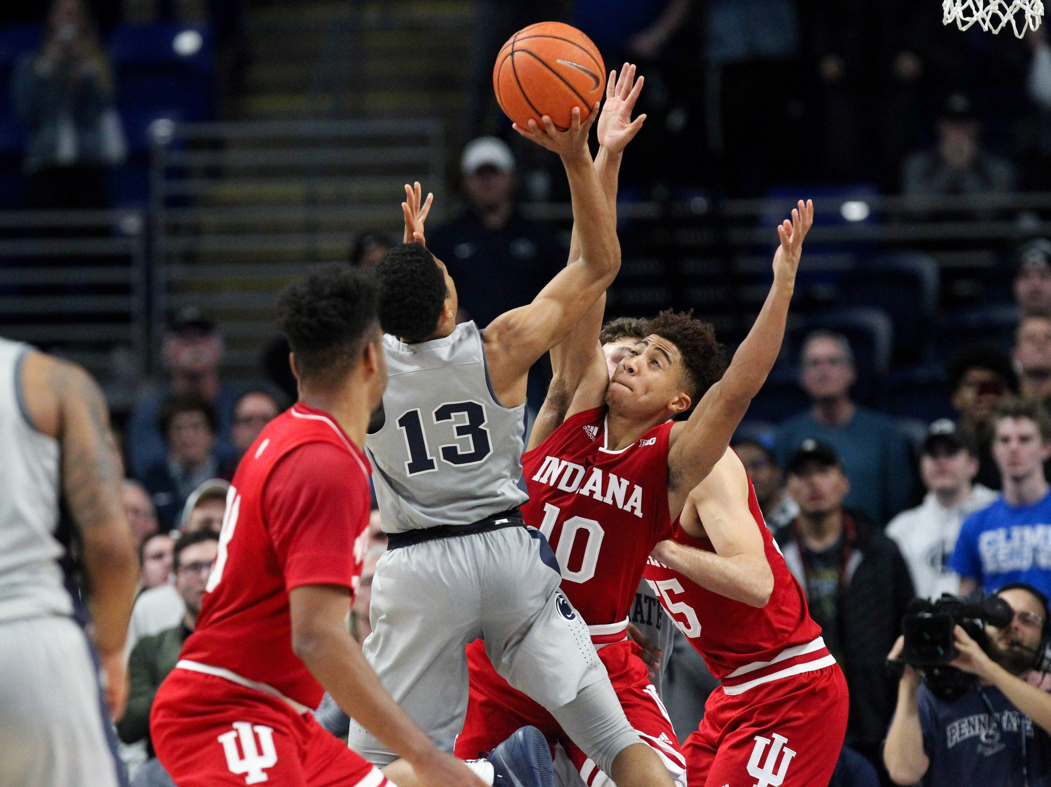 Dec 4, 2018; University Park, PA, USA; Indiana Hoosiers guard Rob Phinisee (10) pressures Penn State Nittany Lions guard Rasir Bolton (13) during the second half at Bryce Jordan Center. Indiana defeated Penn State 64-62. Mandatory Credit: Matthew O'Haren-USA TODAY Sports