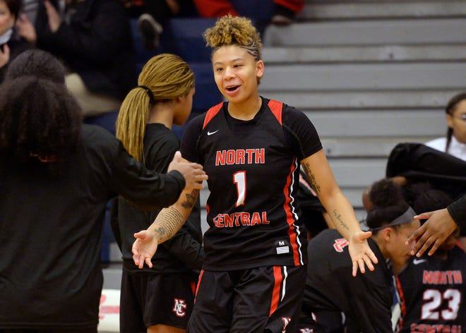 North Central's Rikki Harris (1) takes the court against Roncalli for the Marion County tournament at Roncalli High School in Indianapolis, Ind., Tuesday, Dec. 04, 2018. North Central defeated Roncalli 68-50 to advance and play Ben Davis on Thursday.
