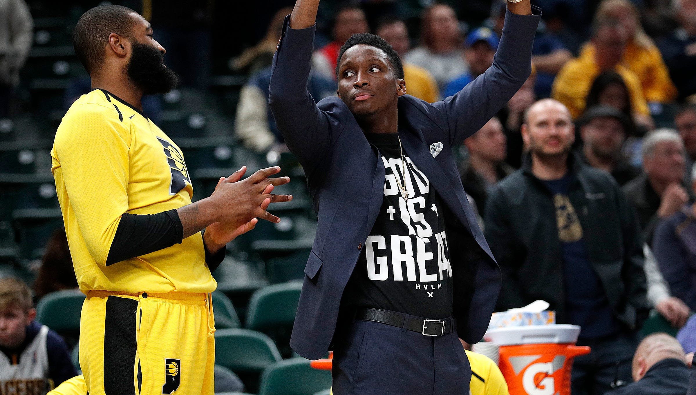 Indiana Pacers guard Victor Oladipo (4) cheers on  his teammates in the second half of their game at Bankers Life Fieldhouse on Tuesday, Dec. 4, 2018. The Indiana Pacers defeated the Chicago Bulls 96-90.