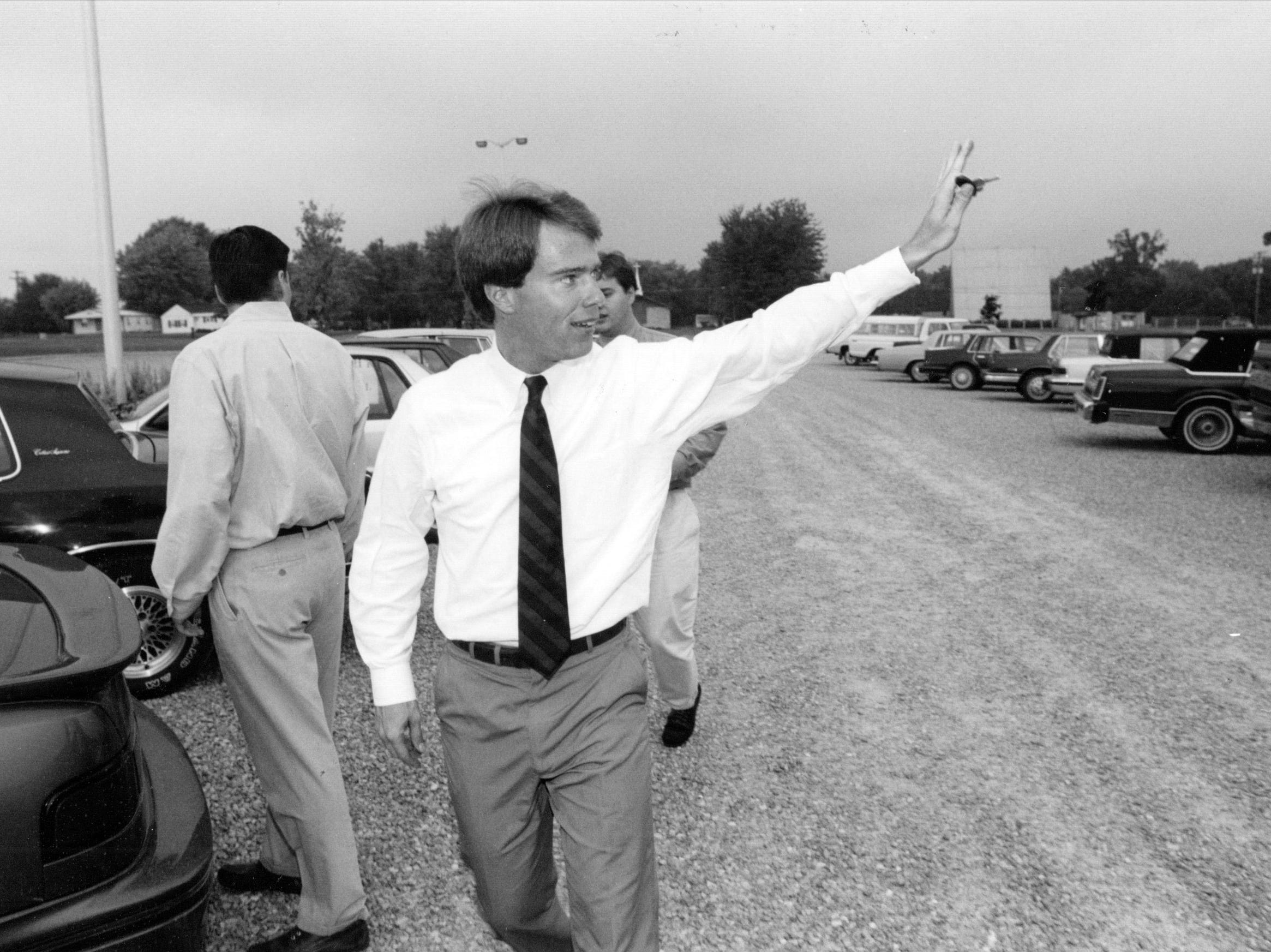 Joe Hogsett on the campaign trail in Linton in 1992.
