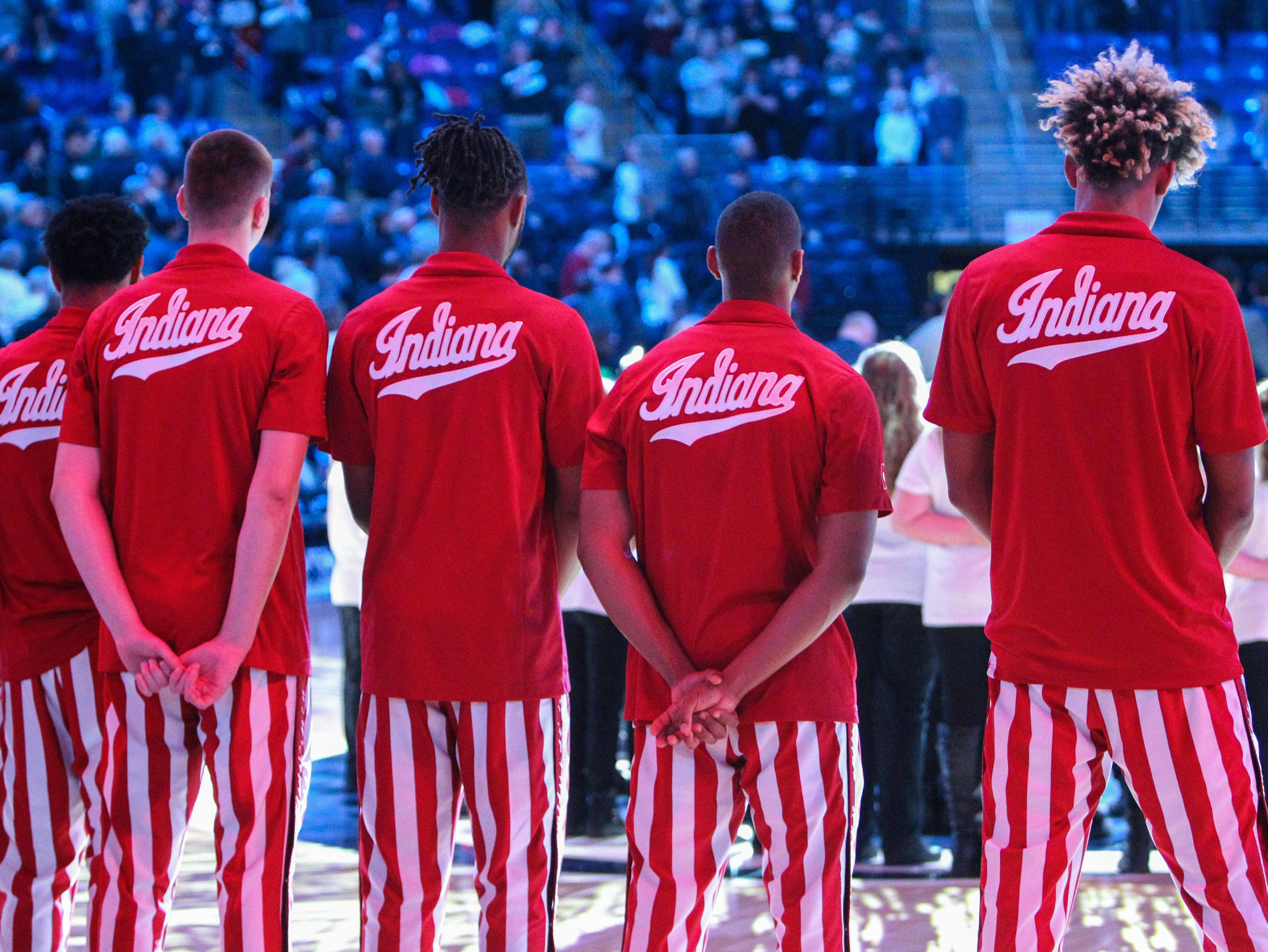 Dec 4, 2018; University Park, PA, USA; Indiana Hoosier players stand prior to the game against the Penn State Nittany Lions at Bryce Jordan Center. Mandatory Credit: Matthew O'Haren-USA TODAY Sports