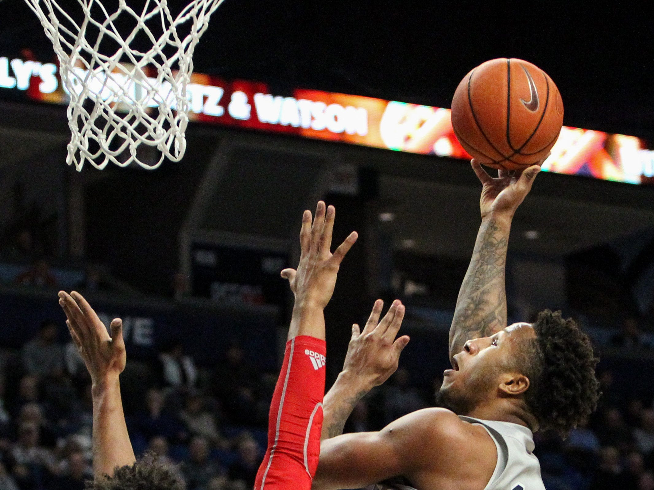Dec 4, 2018; University Park, PA, USA; Penn State Nittany Lions forward Lamar Stevens (11) drives the ball to the basket against Indiana Hoosiers forward Justin Smith (3) during the first half at Bryce Jordan Center. Mandatory Credit: Matthew O'Haren-USA TODAY Sports