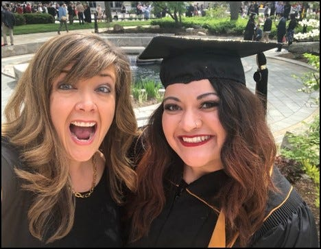 Becca Ford, left, and former Starfish scholar Karli Bernal celebrate Bernal's graduation from Purdue University in spring 2018.