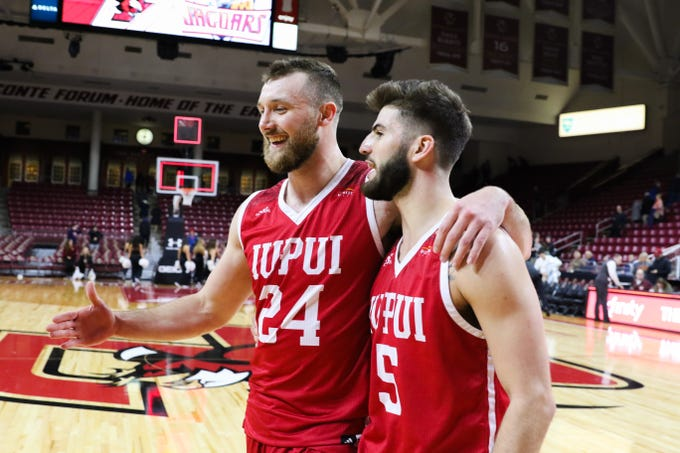 IUPUI forward Evan Hall (left) and guard Camron Justice (right).