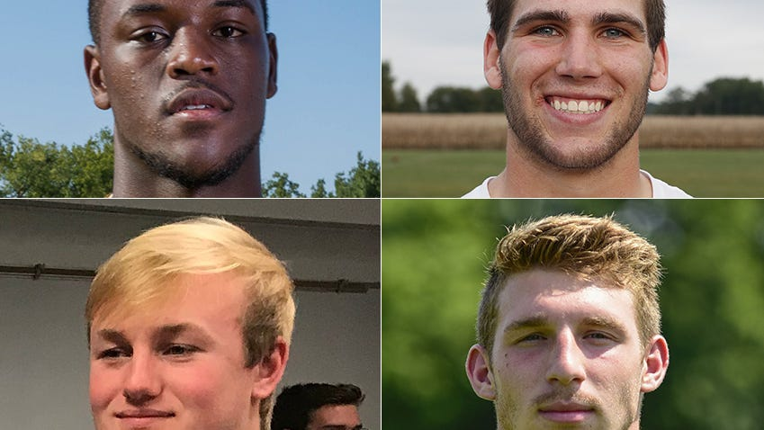 2018 IndyStar Mr. Football finalists: Top row, David Bell of Warren Central, left; Jack Kiser of Pioneer, right; Bottom row, Michael Lindauer of Evansville Memorial, left; Bronson Yoder of NorthWood, right.