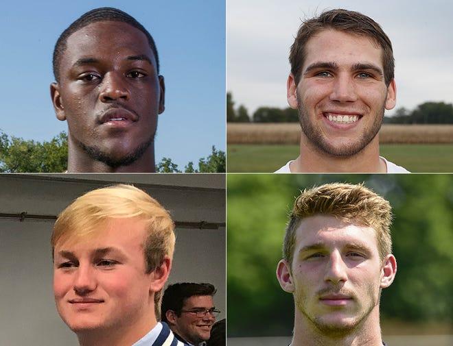 2018 IndyStar Mr. Football finalists: Top row, David Bell of Warren Central, left; Jack Kiser of Pioneer, right; Bottom row, Michael Lindauer of Evansville Memorial, left; Bronson Yoder of NorthWood, right.