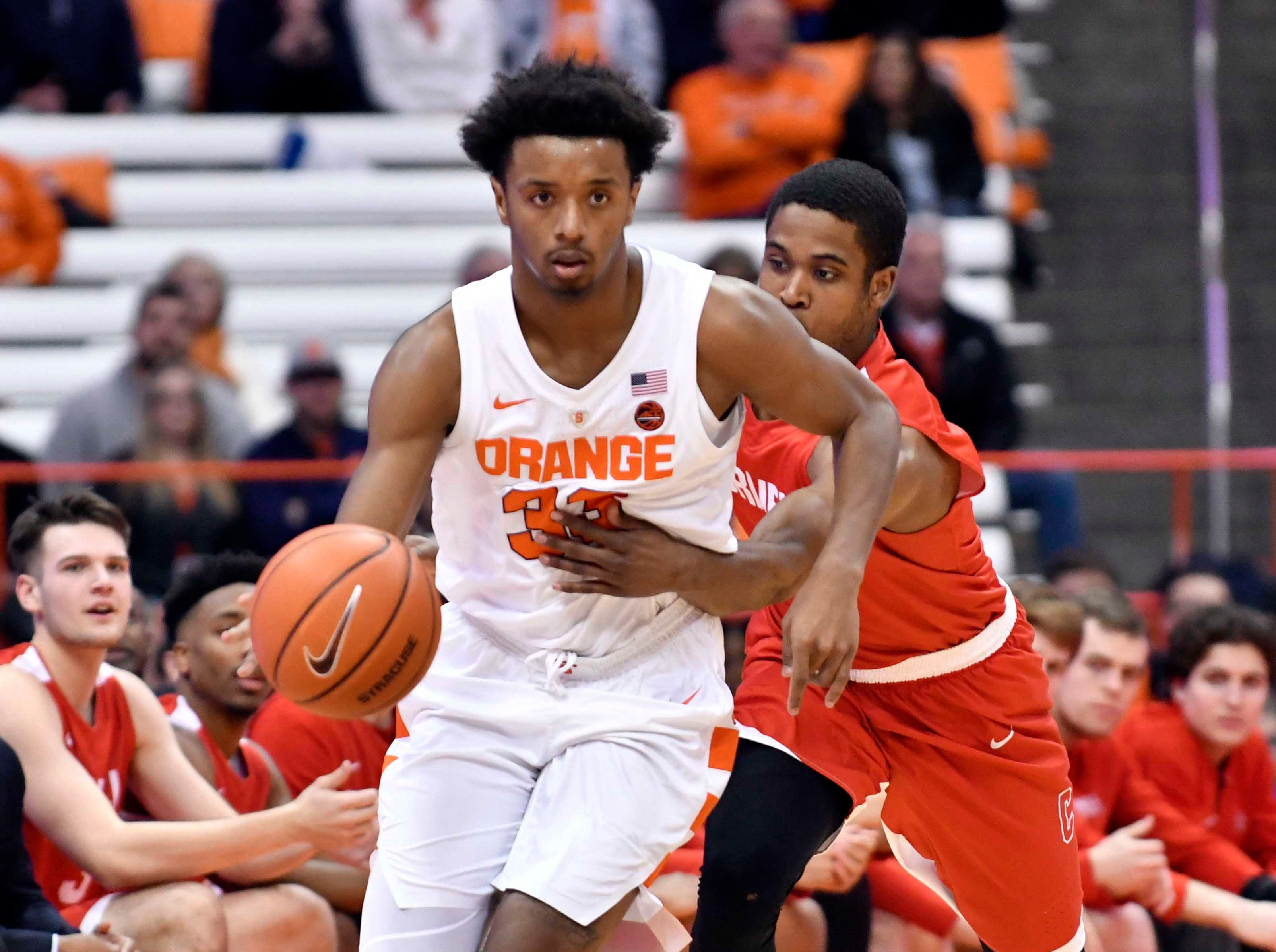 Dec 1, 2018; Syracuse, NY, USA; Syracuse Orange forward Elijah Hughes (33) is fouled by Cornell Big Red guard Troy Whiteside (4)during the second half at the Carrier Dome. Mandatory Credit: Mark Konezny-USA TODAY Sports