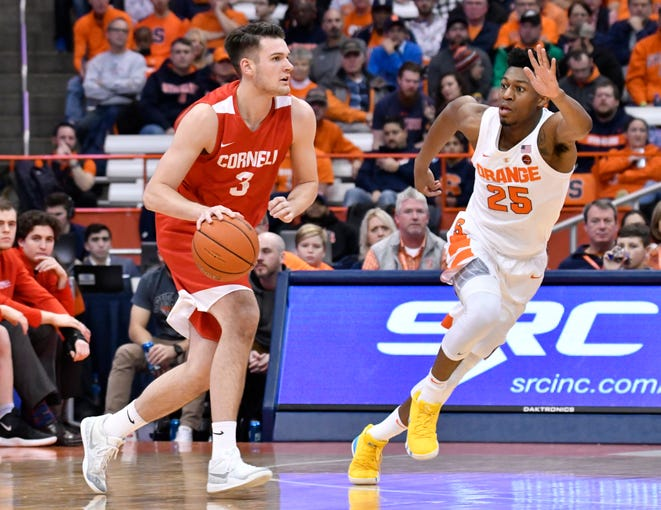 Dec 1, 2018; Syracuse, NY, USA; Cornell Big Red forward Jimmy Boeheim (3) dribbles the ball past Syracuse Orange guard Tyus Battle (25) during the second half at the Carrier Dome. Mandatory Credit: Mark Konezny-USA TODAY Sports