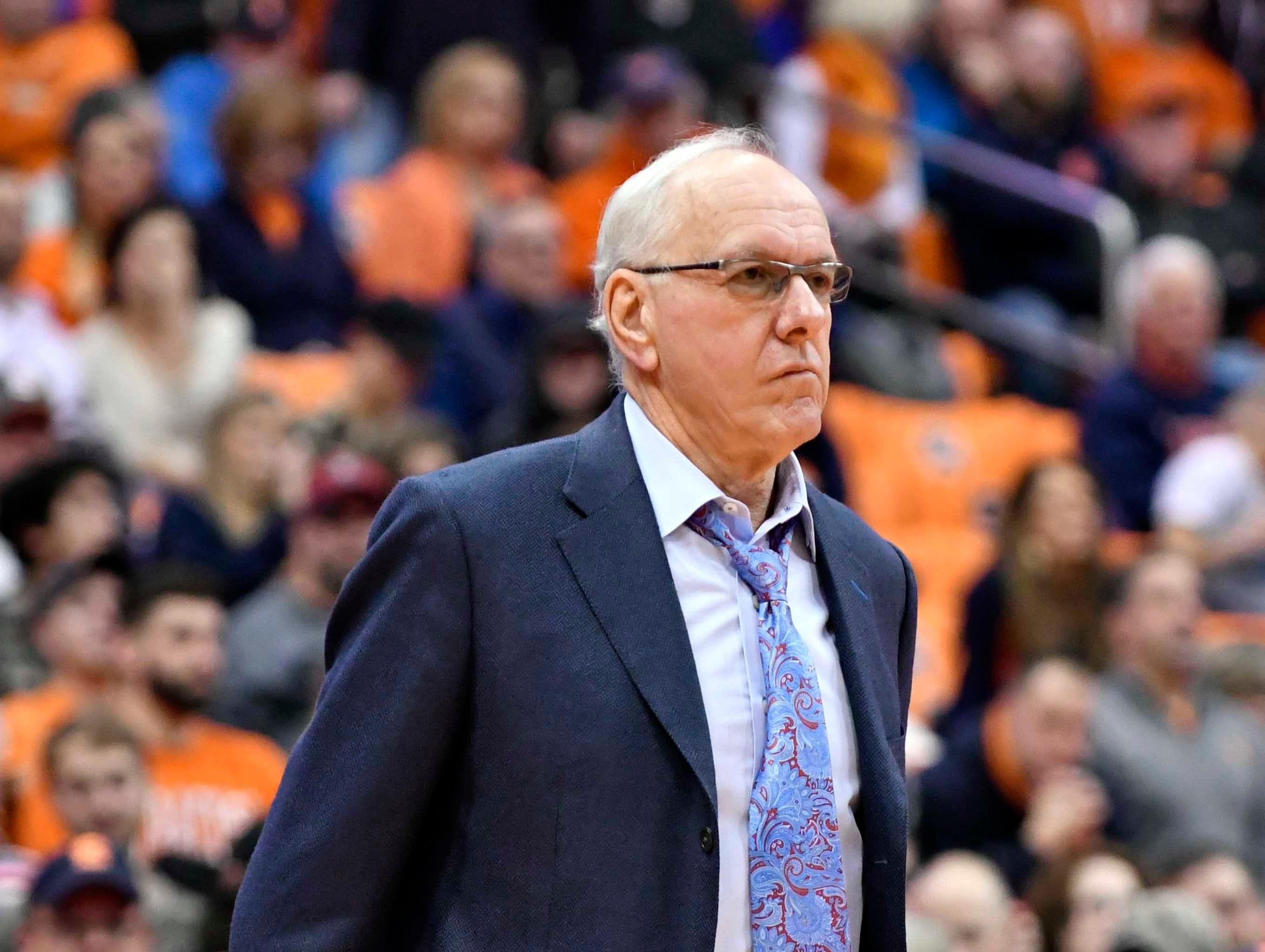 Dec 1, 2018; Syracuse, NY, USA; Syracuse Orange head coach Jim Boeheim watches the play on the court during the second half against the Cornell Big Red at the Carrier Dome. Mandatory Credit: Mark Konezny-USA TODAY Sports