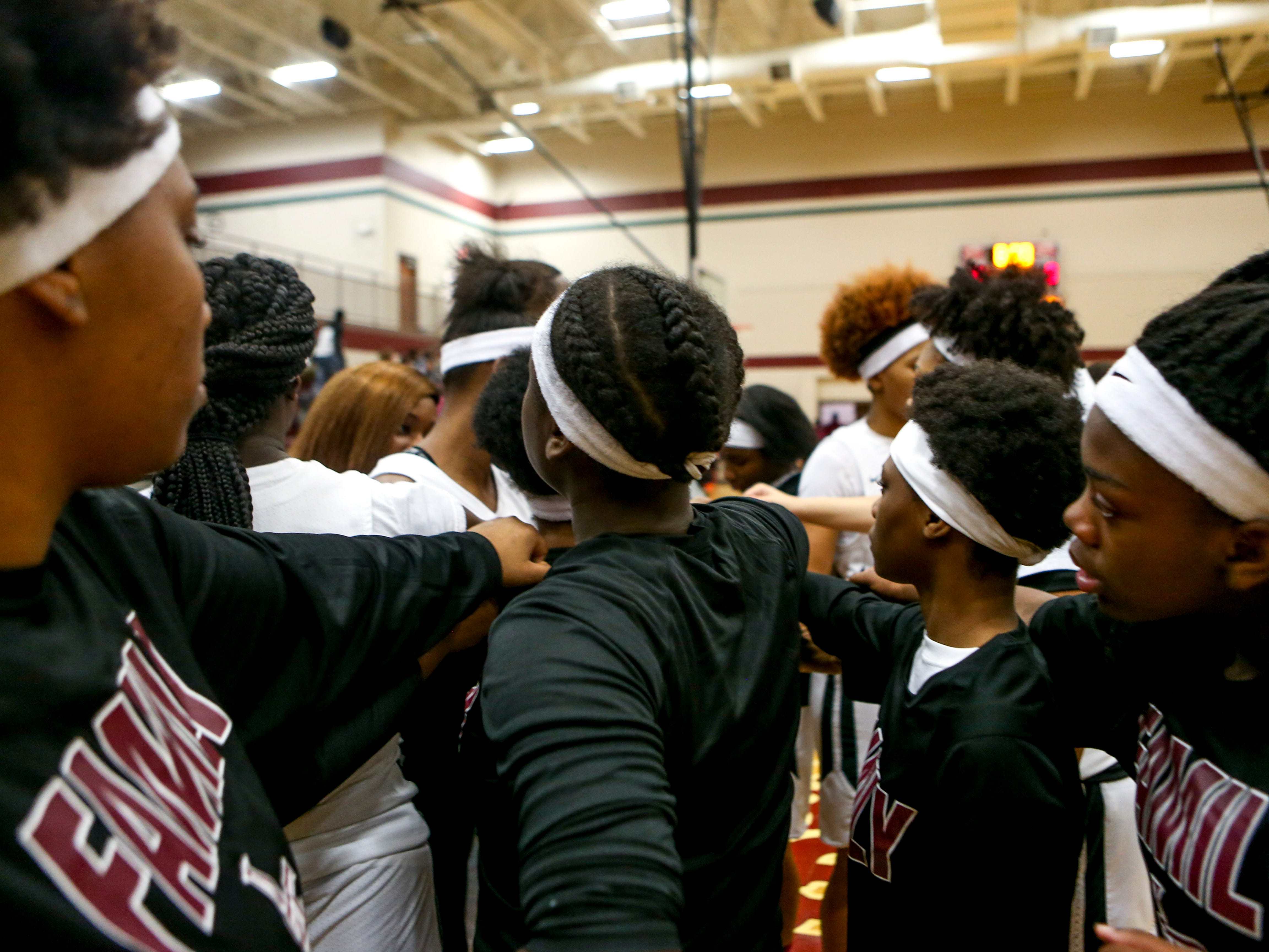 Liberty players all wore white head bands in honor of their teammate Nyjah Jackson that had to transfer schools and her mother Nyema Jackson that lost her life in an accident in an ambulance over the weekend at a TSSAA girls basketball game where Liberty played Ripley High School at Liberty Tech High School in Jackson, Tenn., on Tuesday, Dec. 4, 2018.