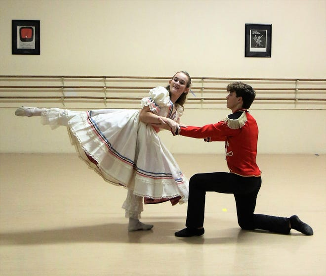 Mimi Campbell and Patrick Roe work on their parts in this year's production of The Nutcracker, which will happen this weekend at the Carl Perkins Civic Center.