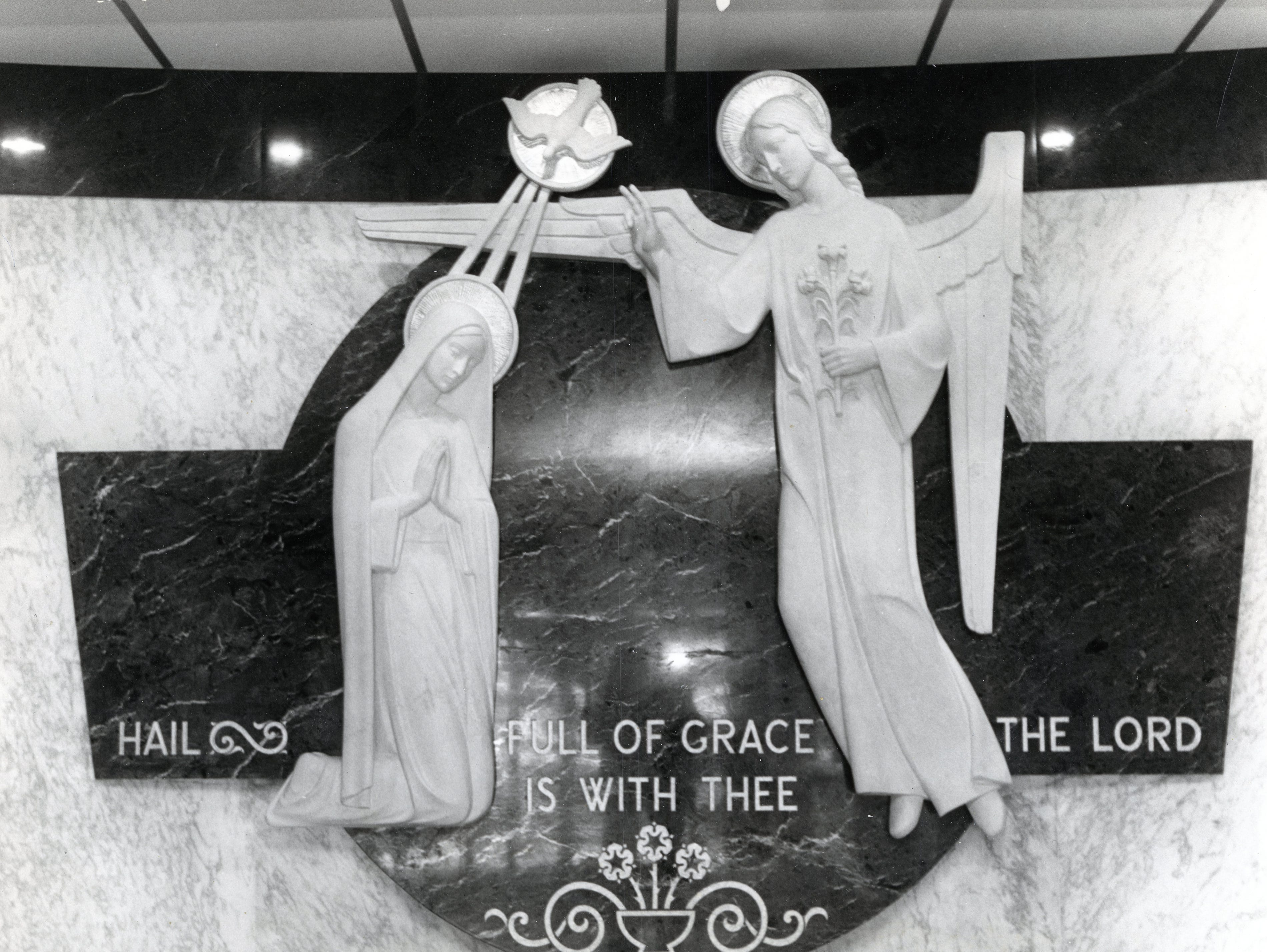 Closeup view of the Annunciation scene in the new wing of St. Mary's Hospital in March 1966.