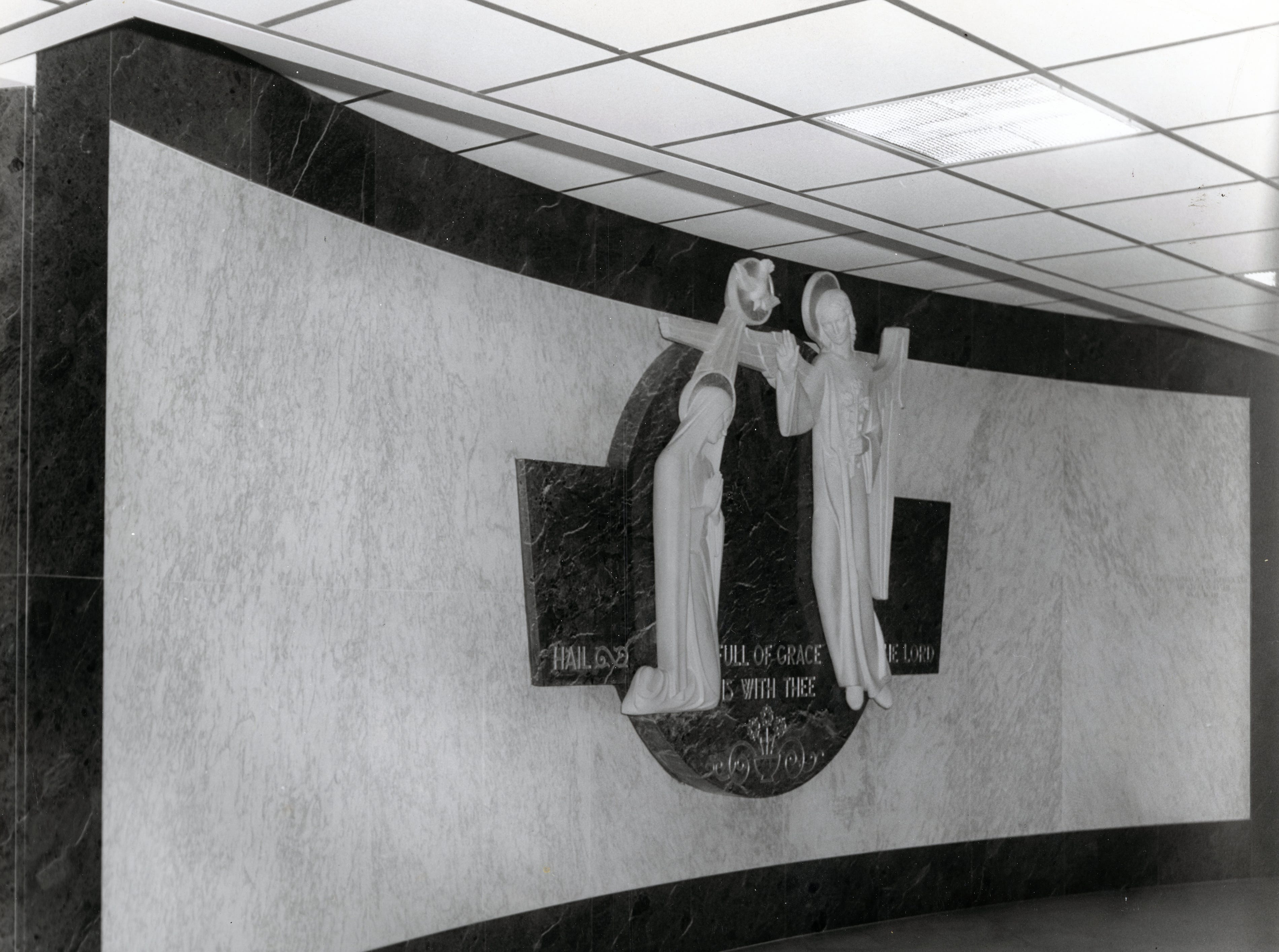 Side view of the Annunciation scene in St. Mary's Hospital in March 1966.