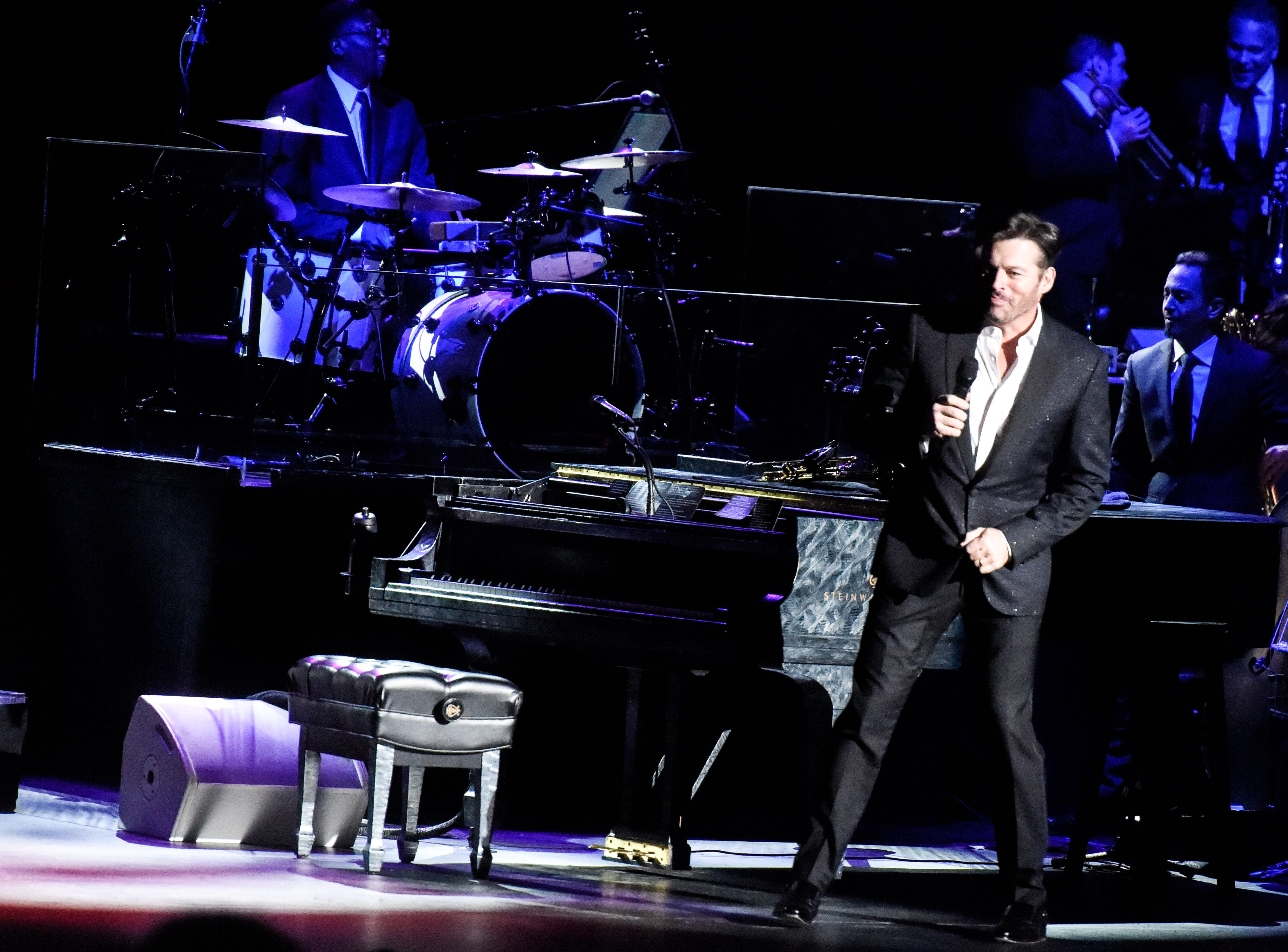 Harry Connick Jr. transitions into the  third tune of his New Orleans Tricentennial Celebration set at the Tennessee Theatre in Knoxville on Dec. 4, 2018.