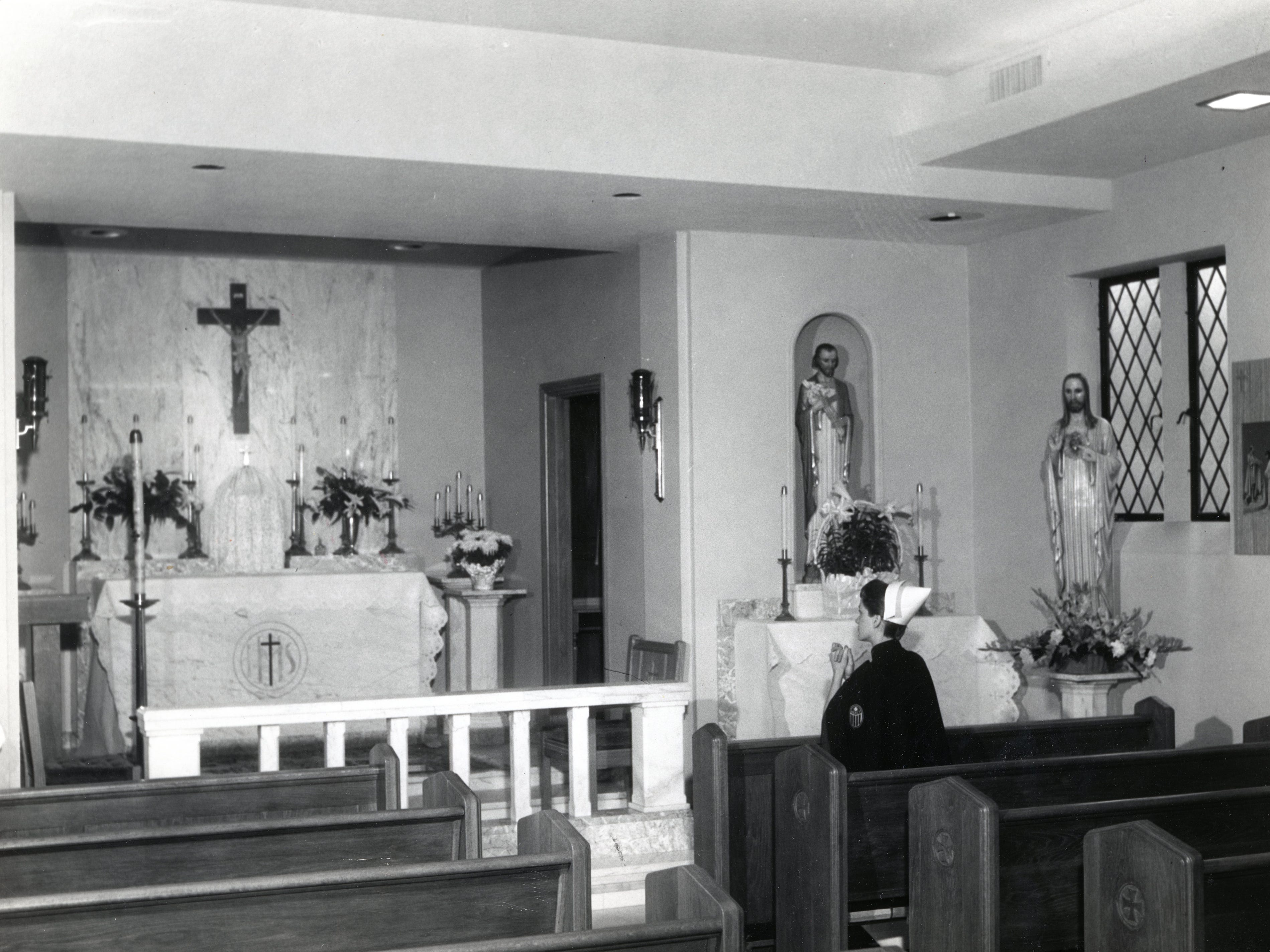 Holly Shults in the chapel at St. Mary's Hospital in April 1958.