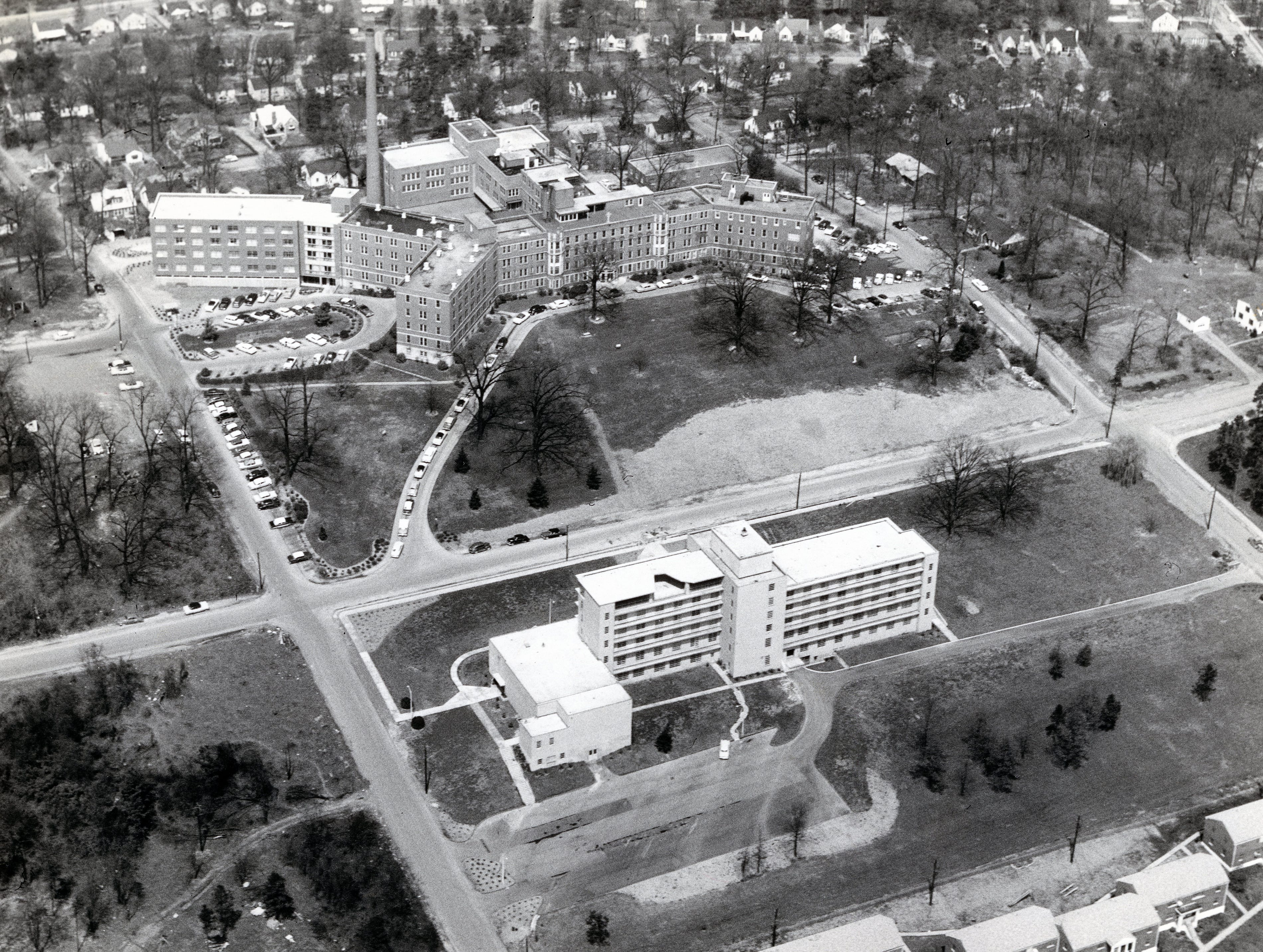 View of St. Mary's Hospital in April 1958.