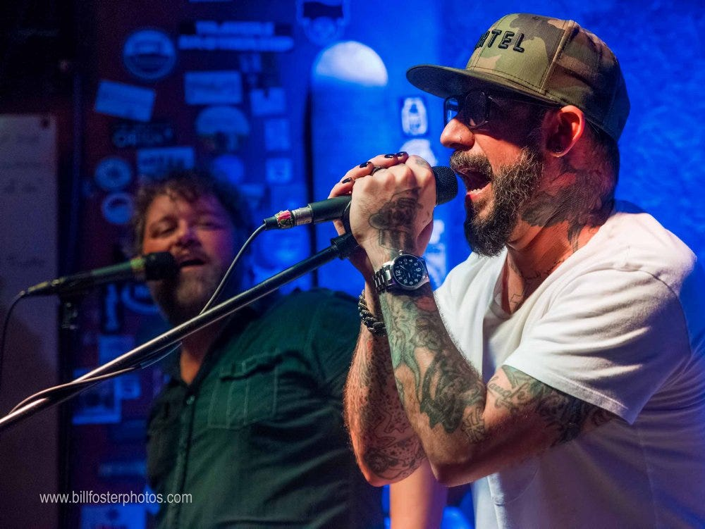AJ McLean (right) of the Backstreet Boys performs with Badlands at Preservation Pub in Knoxville on June 29, 2018.