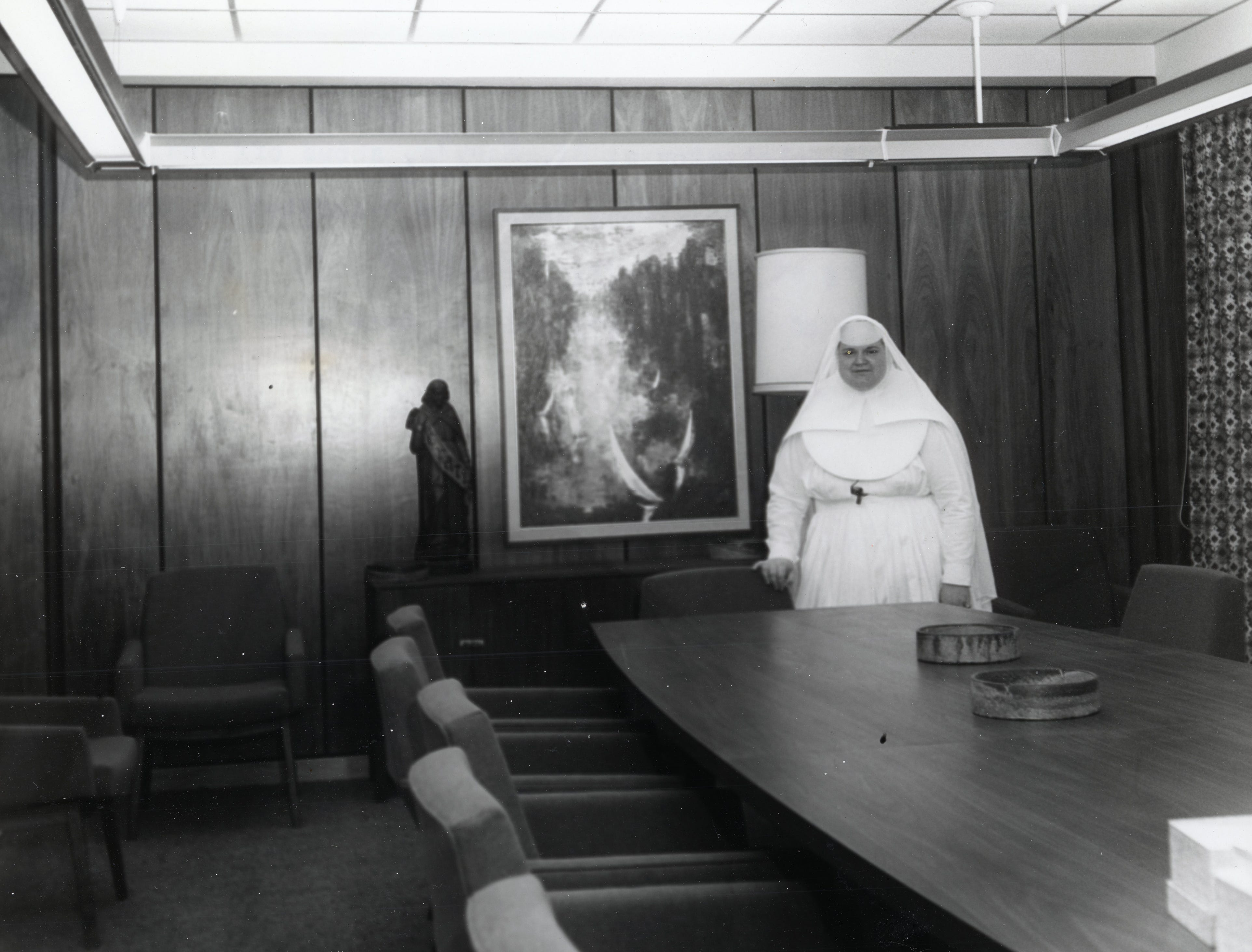 Sister Mary Laura, administrator at St. Mary's, shows off one of the conference rooms, tastefully decorated in the new Annunciation Wing at St. Mary's Hospital in March 1966.