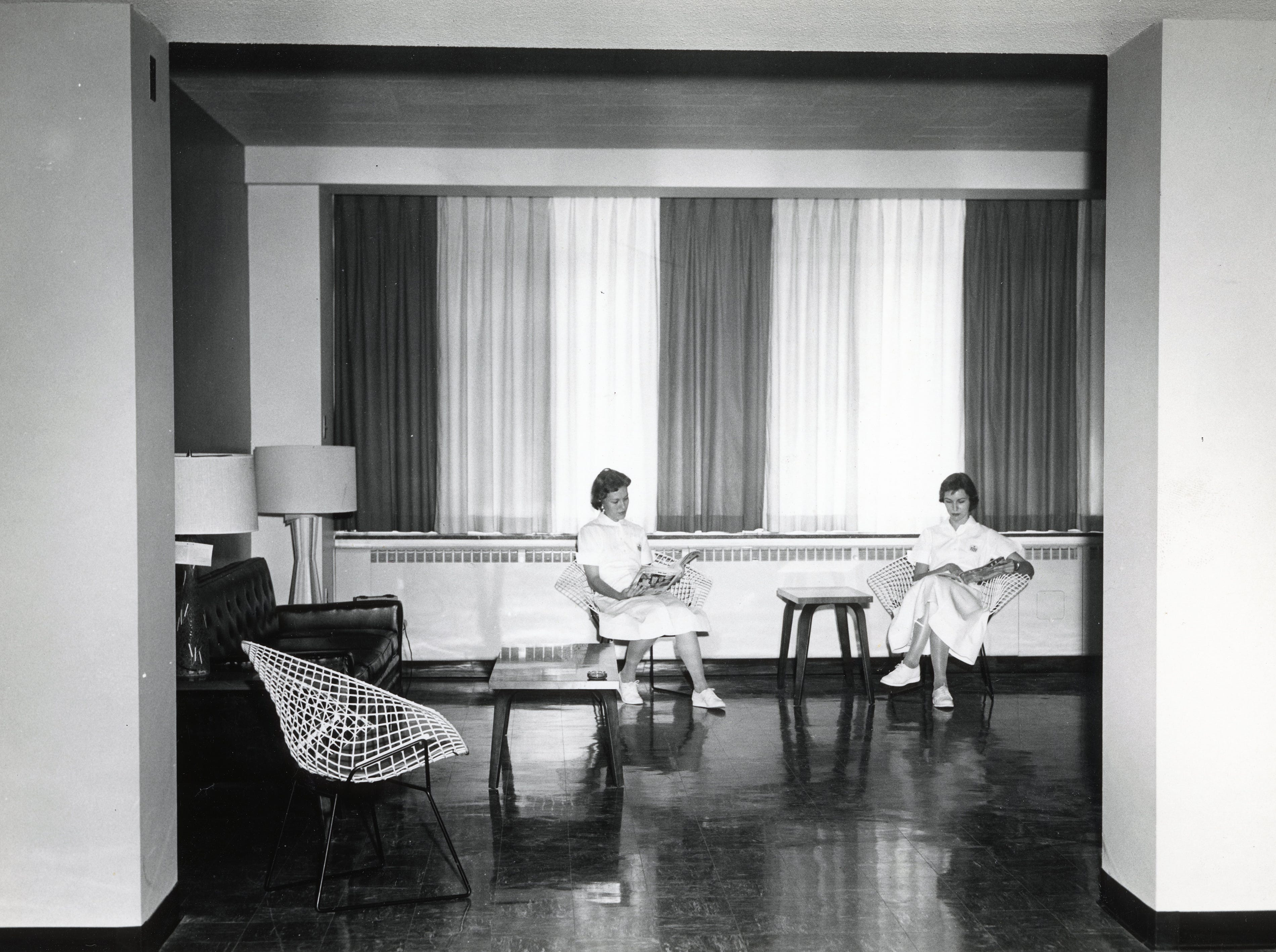 Sue Laxton, left, and Mary Sue Sharp inside the new nurses' home at St. Mary's in June 1957.