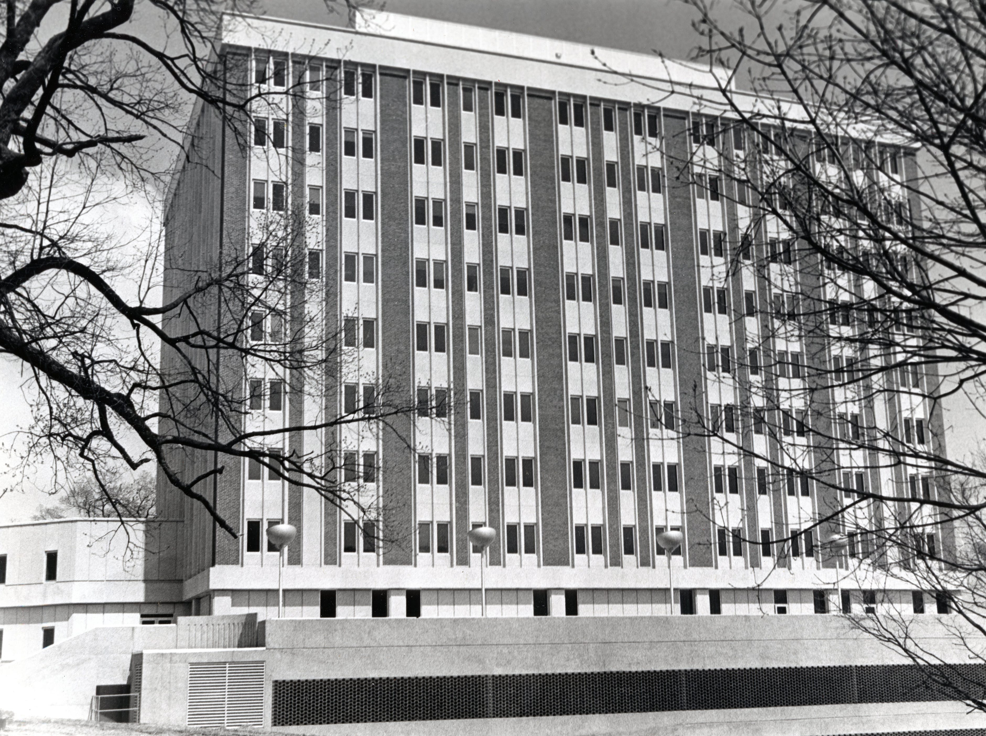 The Magdalene Tower at St. Mary's Medical Tower in April 1972.