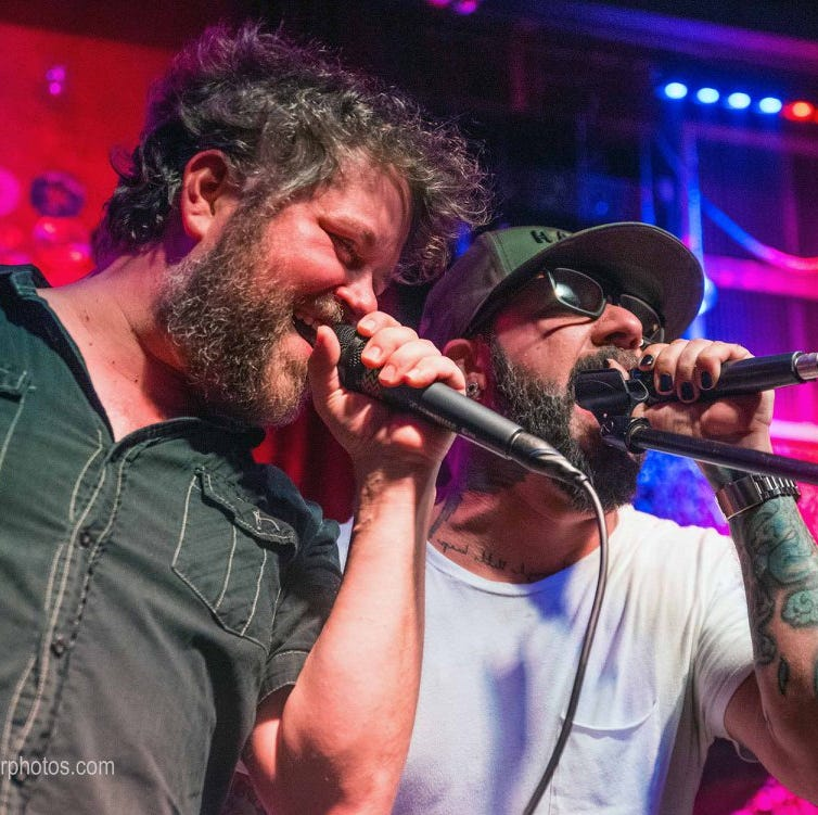AJ McLean (right) of the Backstreet Boys performs...