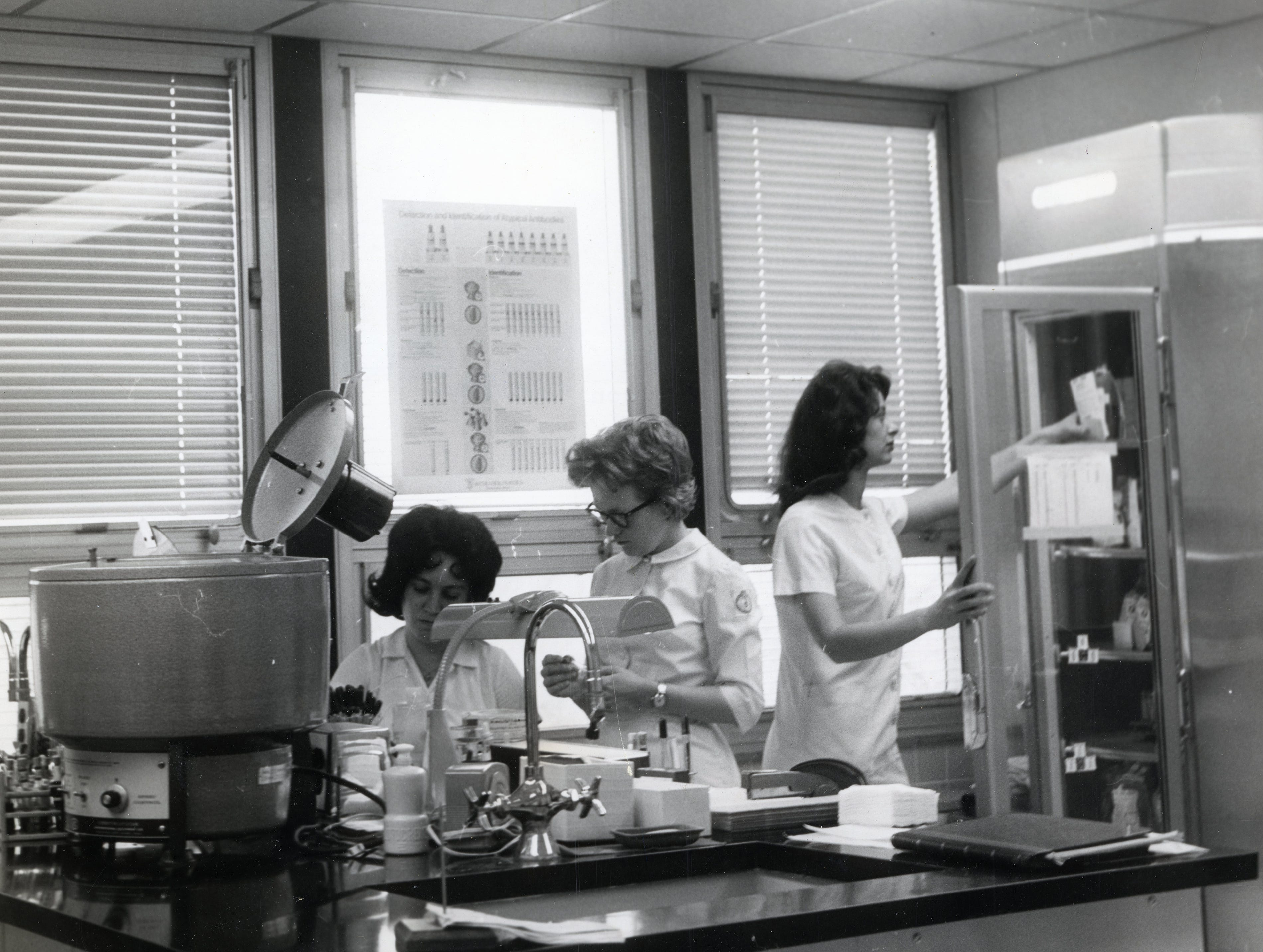 The blood bank in St. Mary's Medical Center's Annunciation Wing in March 1966.