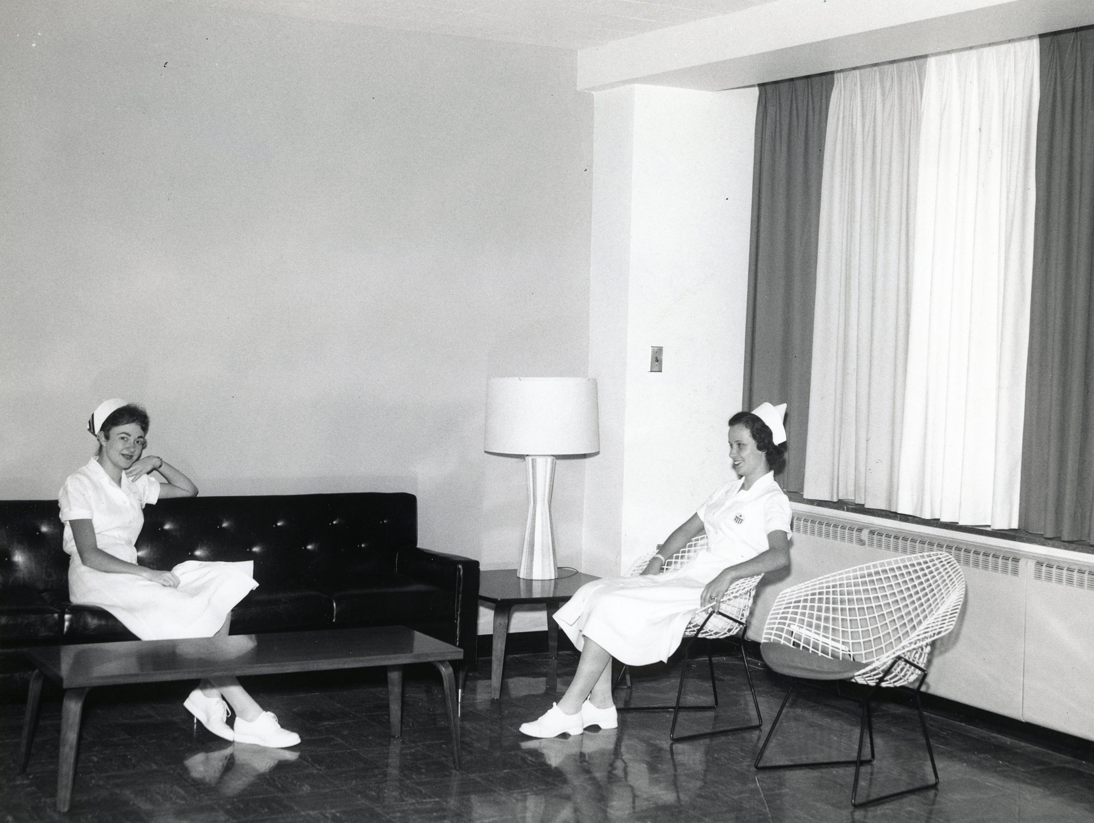 Peggy McMahan and Debra Ambrose at St. Mary's Hospital in the 1950s.