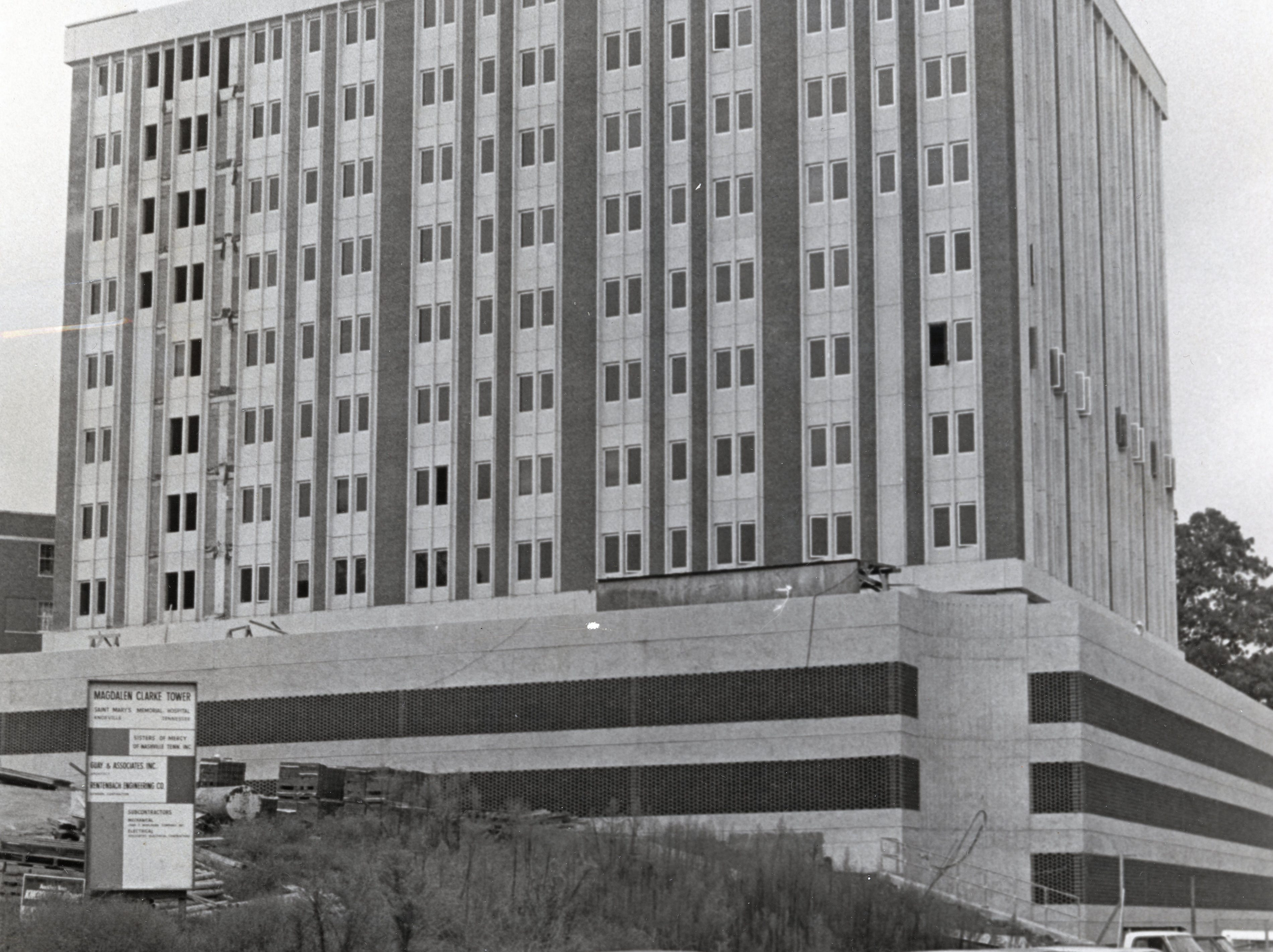 The Magdalene Tower, a new wing at St. Mary's Medical Center pictured in September 1972.