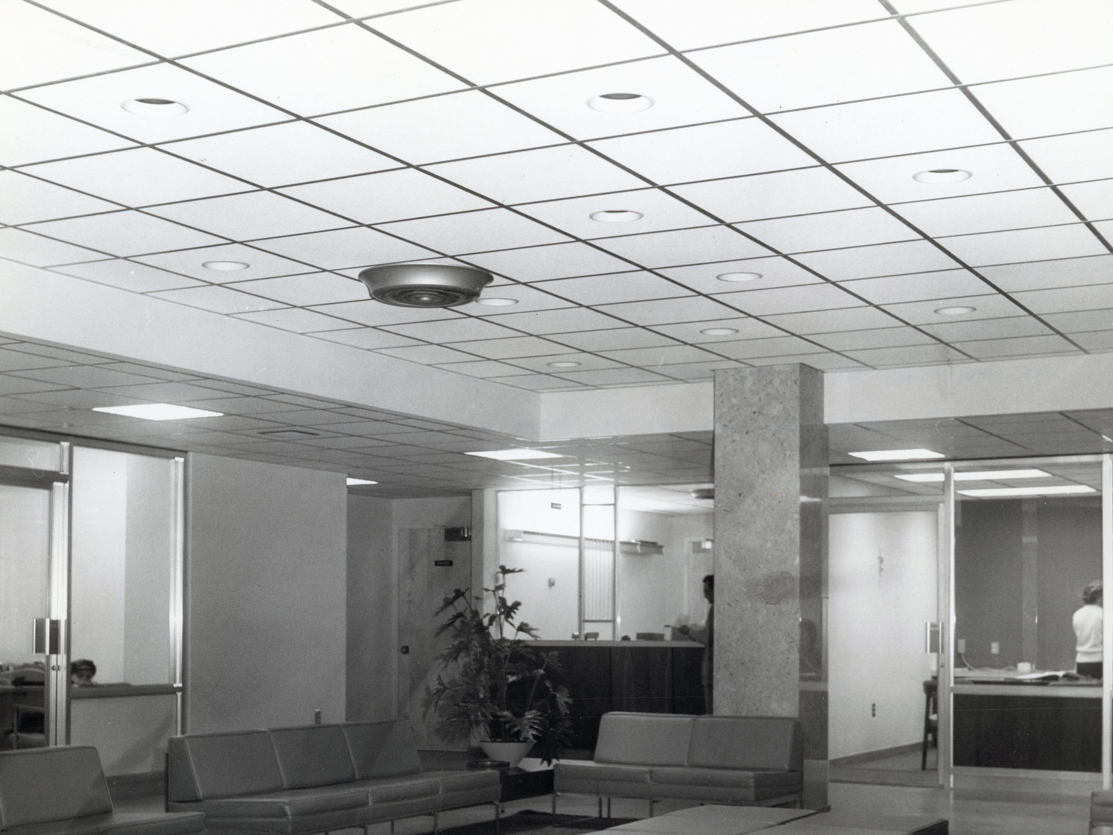 Awaiting the first patients, this is the general waiting room of the new Annunciation Wing at St. Mary's Hospital in March 1966.