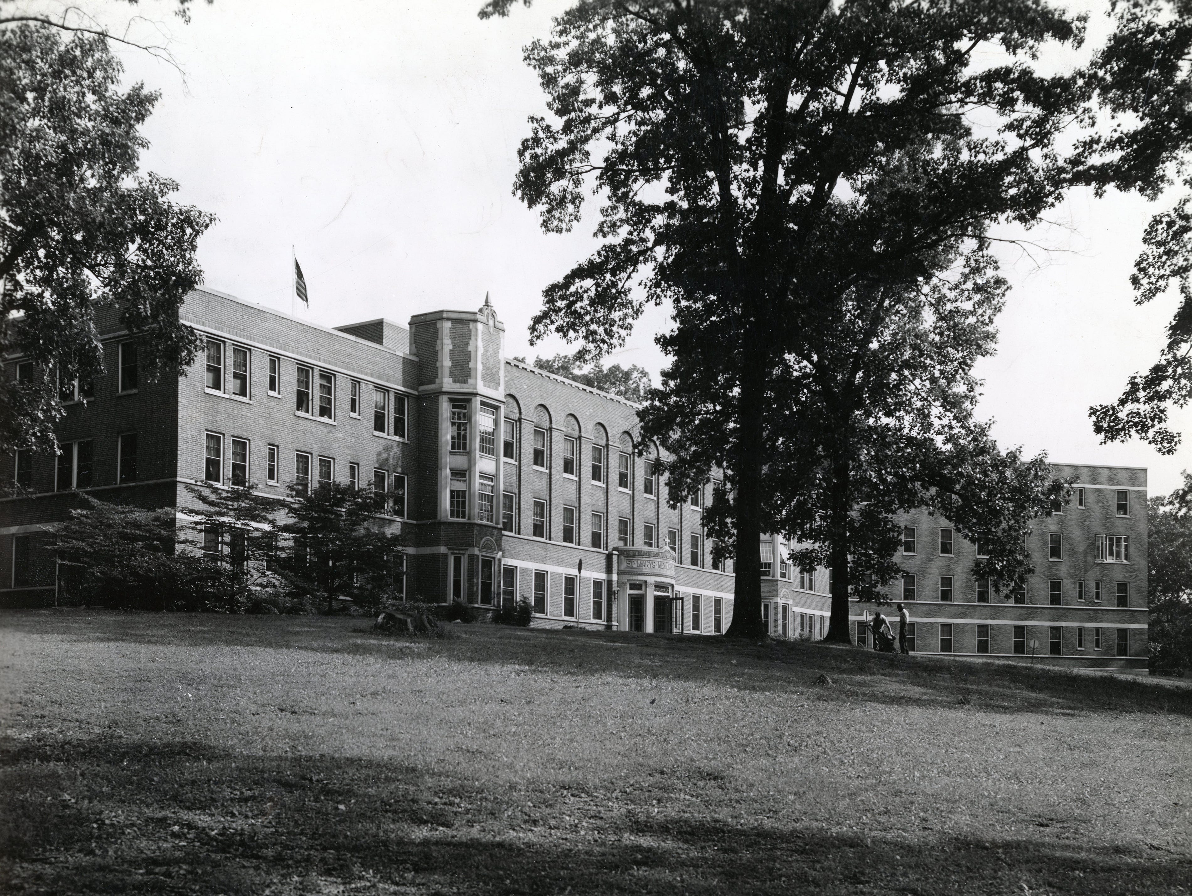 The east wing of the main building of St. Mary's Hospital in February 1950.