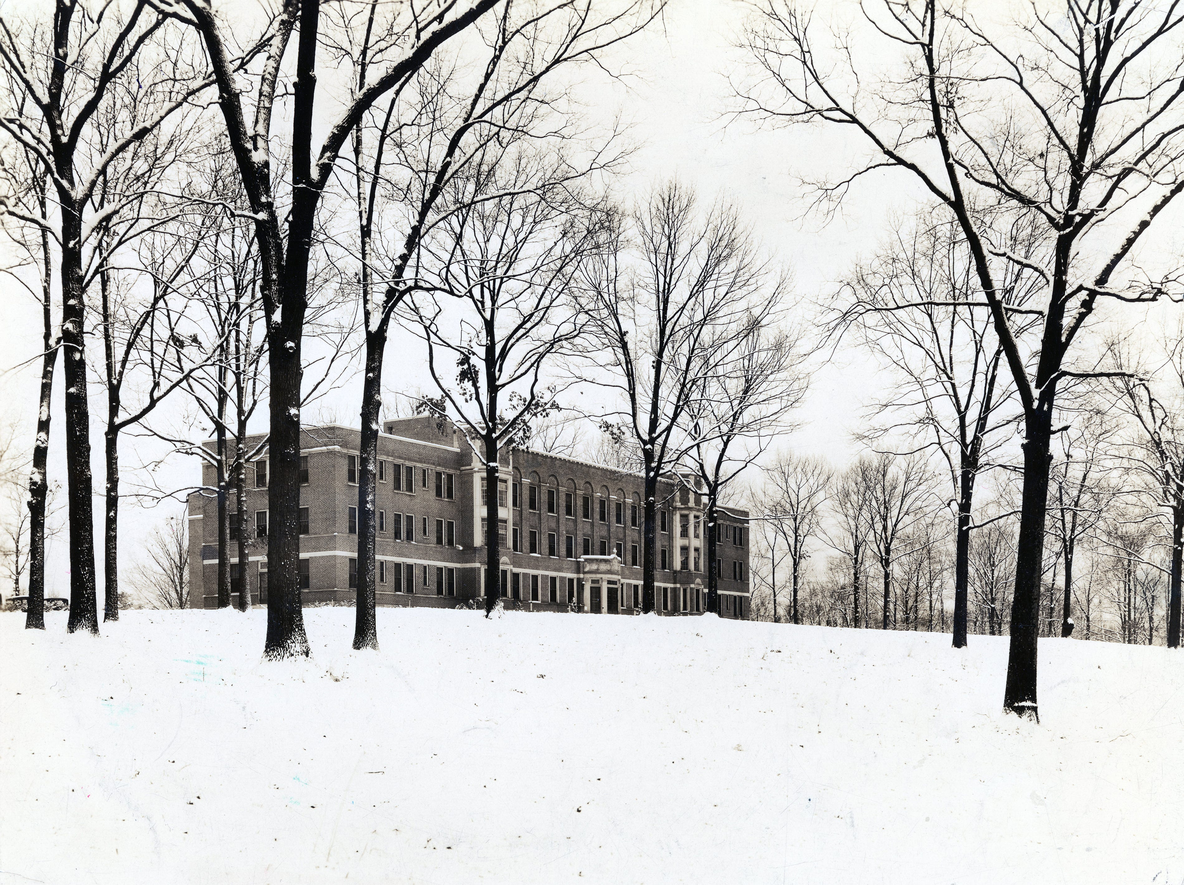 Winter scene of St. Mary's Hospital in the 1930s.
