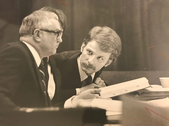 Steve West with his lawyer on March 25, 1987.