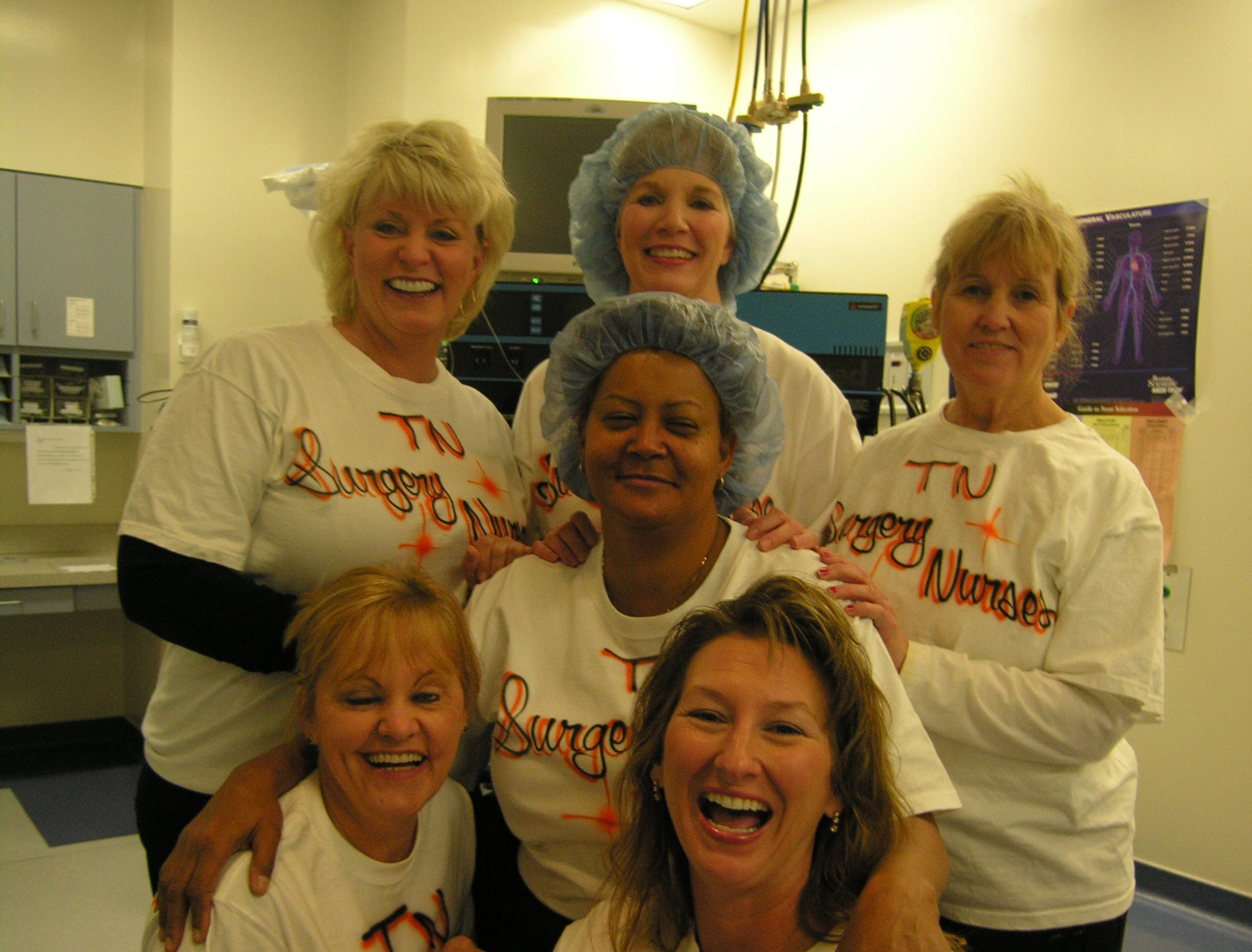 A group of St. MaryÕs Medical Center surgical nurses that have been planning ÒgirlsÕ tripsÓ together for about six or seven years spent their latest one in Southern California, where they got to go to the Price is Right TV show. They all auditioned for the show and Charlene Minefield actually got to be a contestant. From left, kneeling are Donna Turner and Tina Maggard, in the center is Minefield and behind her are Melody Vineyard, Glenna Guynes and Geneva Wise.