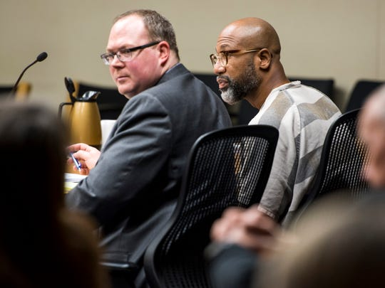 Eric Boyd, right, with defense attorney Clinton Frazier during a hearing in Knox County Criminal Court on Wednesday, December 5, 2018.