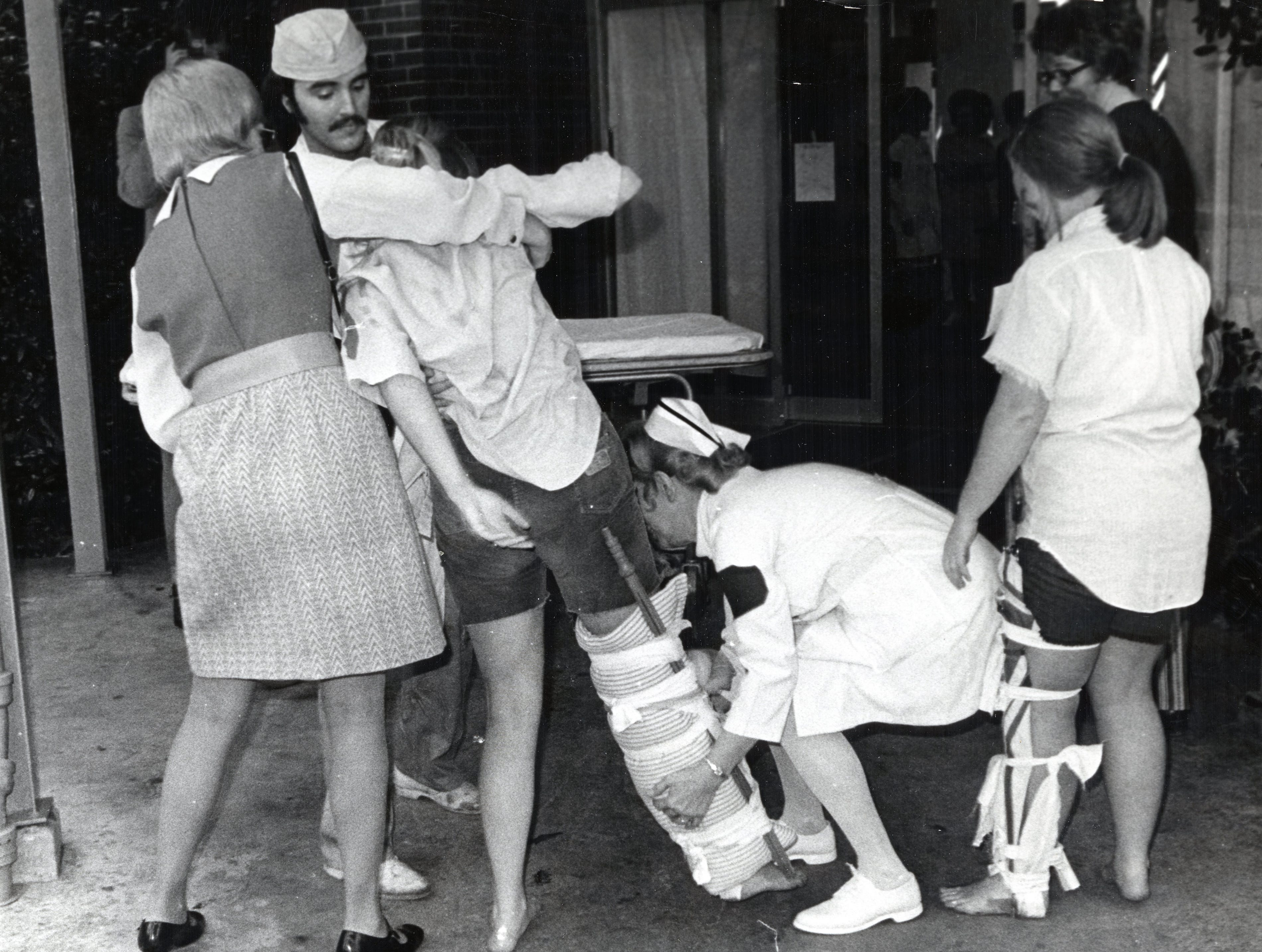 An emergency room mock test run at St. Mary's in December 1971.
