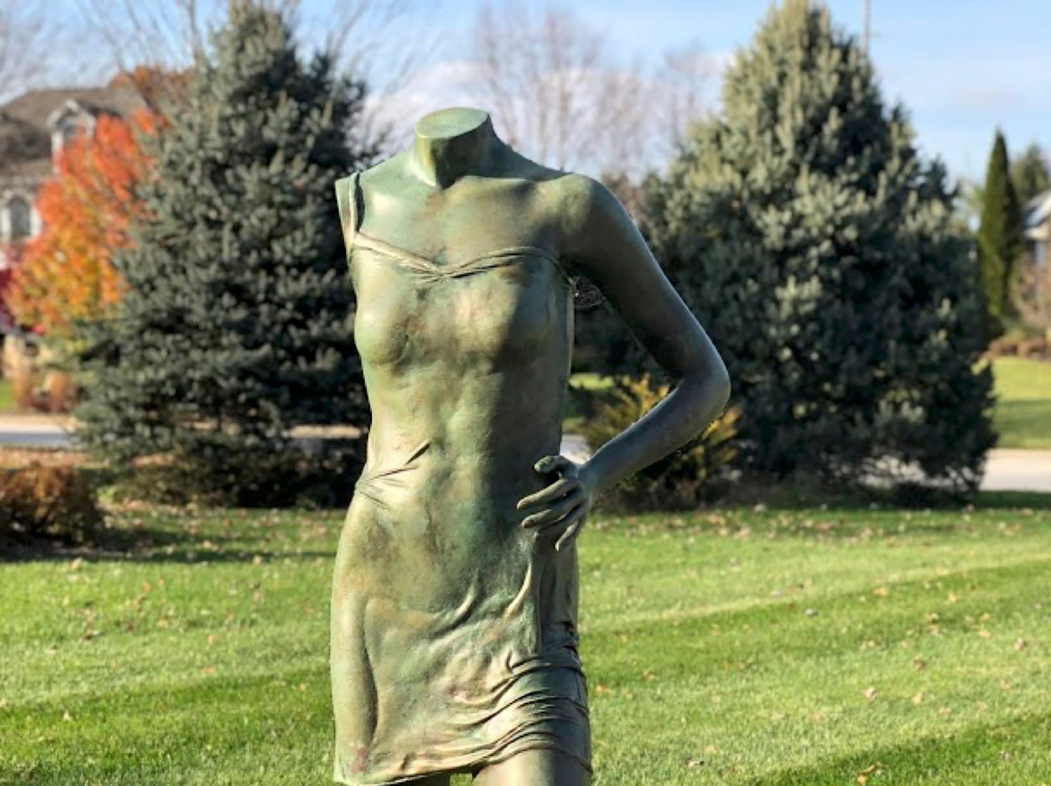 "Artists Lorie Amick and LaDonna Vohar challenged themselves to make fine art out of about 20 store mannequins they bought when The Limited, at Tippecanoe Mall, went out of business. ""Grace"" resembles a bronze nymph sculpture."