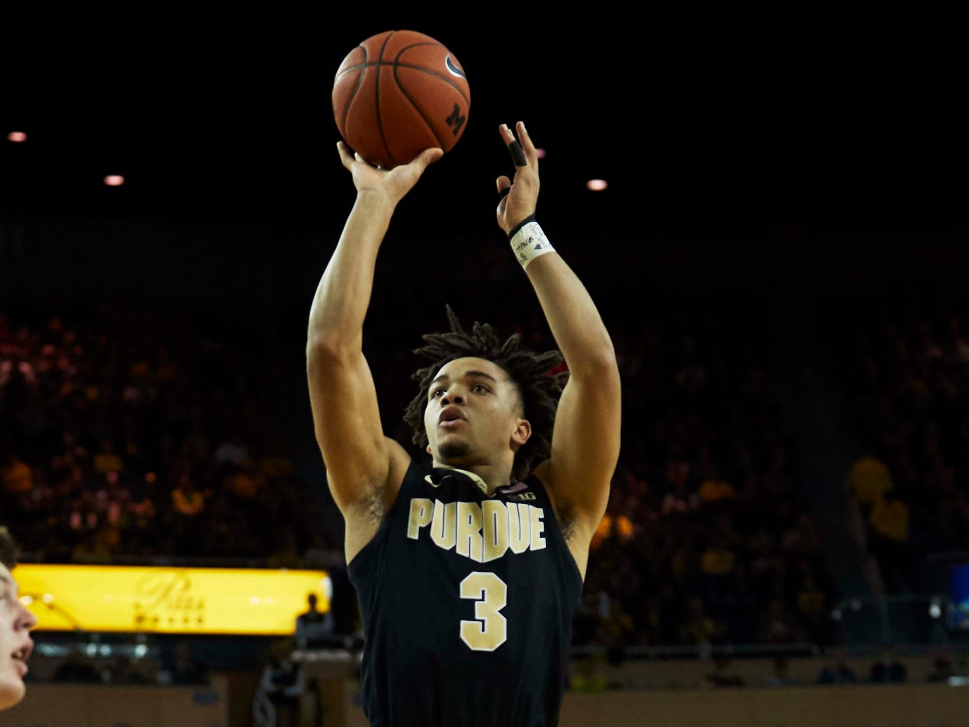 Dec 1, 2018; Ann Arbor, MI, USA; Purdue Boilermakers guard Carsen Edwards (3) shoots in the second half against the Michigan Wolverines at Crisler Center. Mandatory Credit: Rick Osentoski-USA TODAY Sports