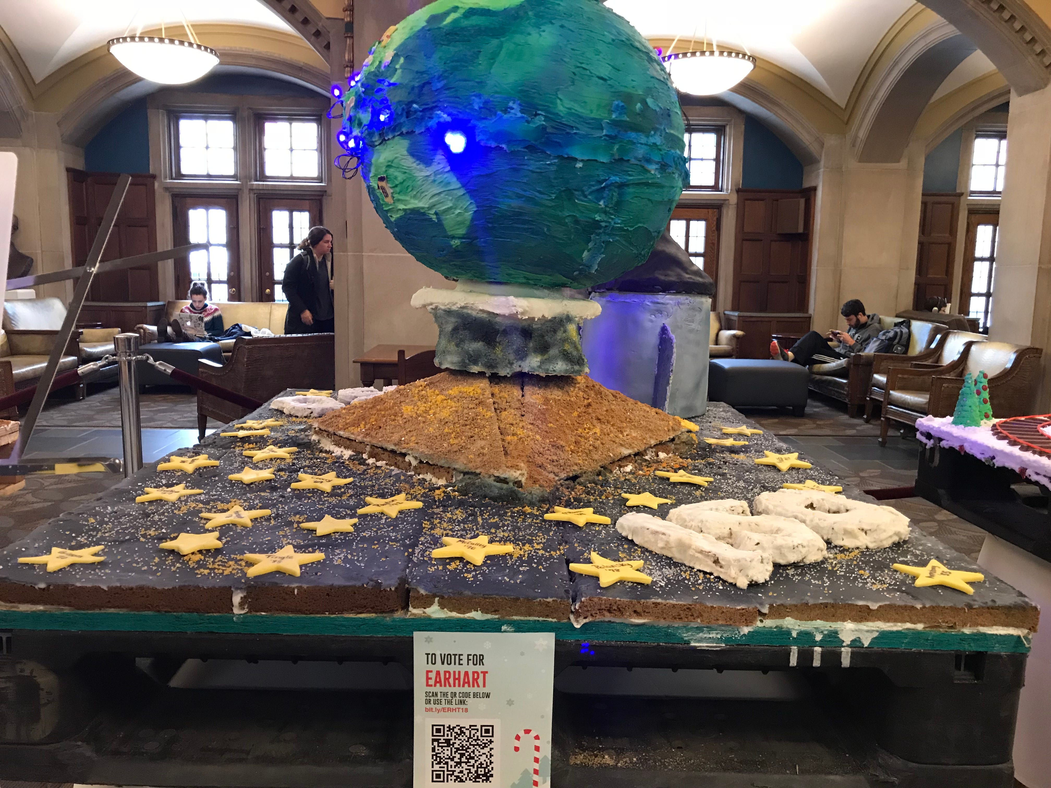 Earhart Dining Court's gingerbread display