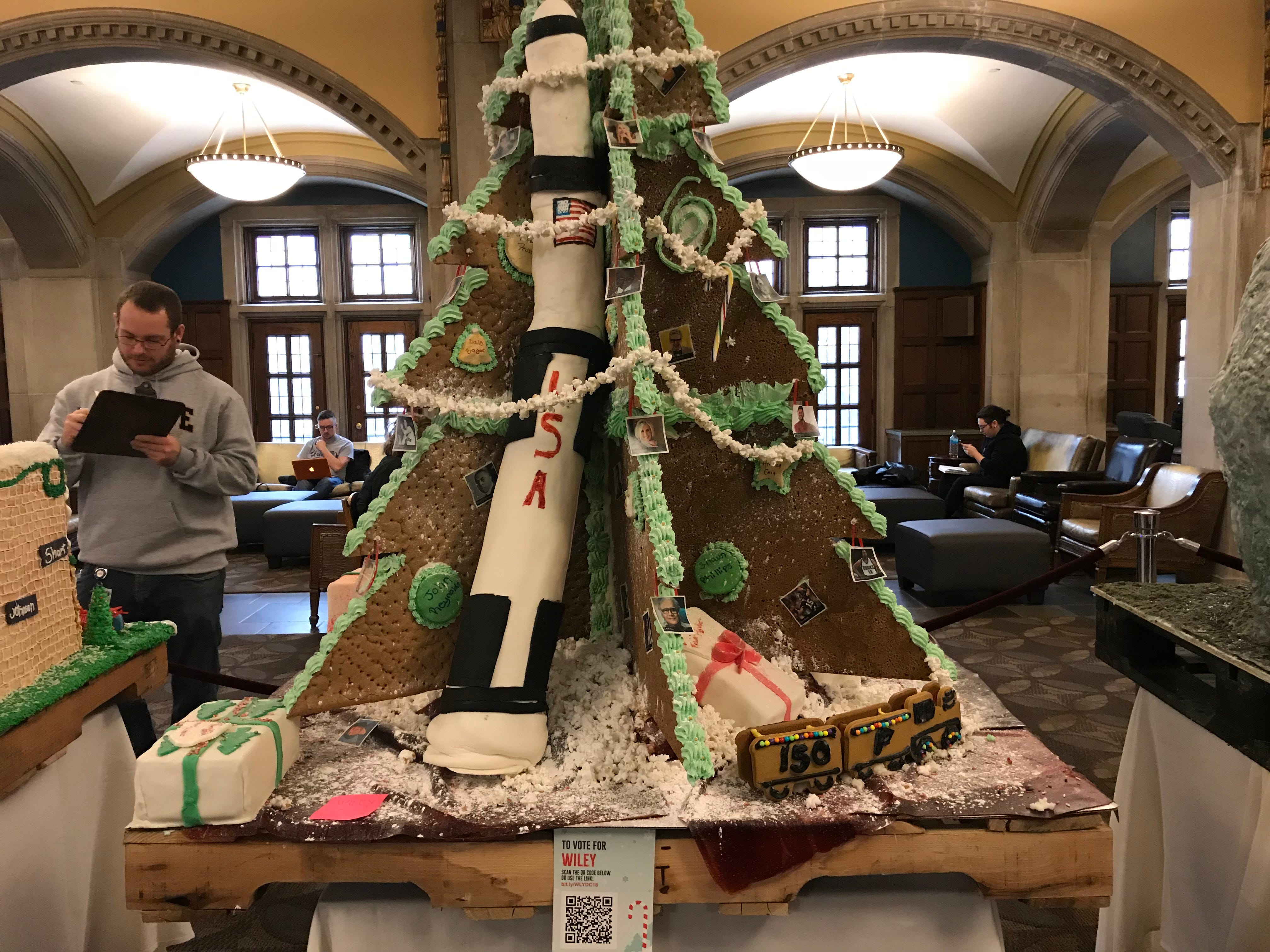 Wiley Dining Court's gingerbread display