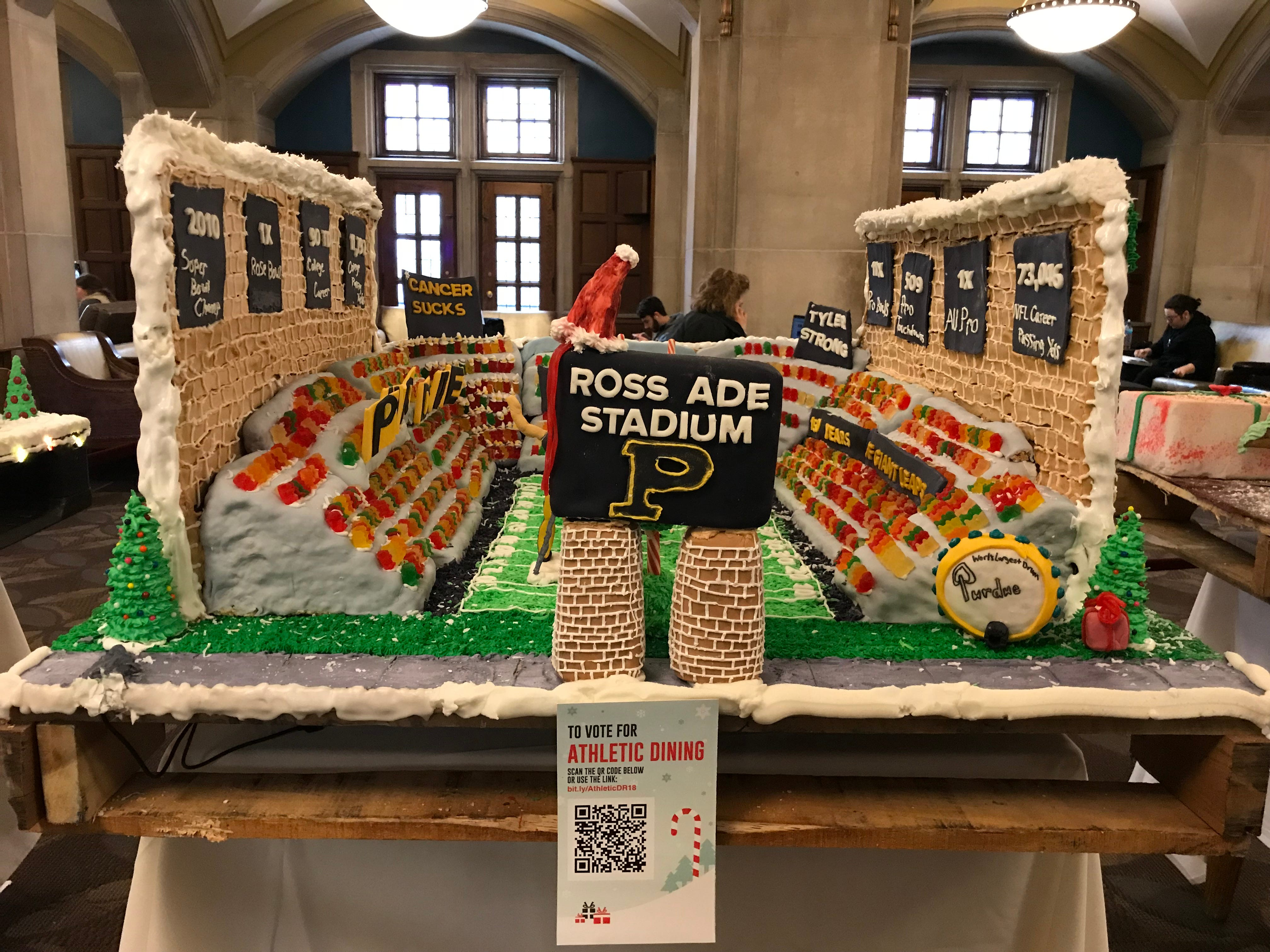 Athletic Dining's gingerbread display