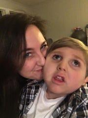 Katie Harrison and her son, Hawk, 6.
