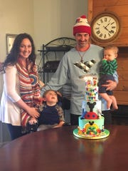 Katie Harrison with her son, Hawk, 6, boyfriend, Matt, and their son, Lake.